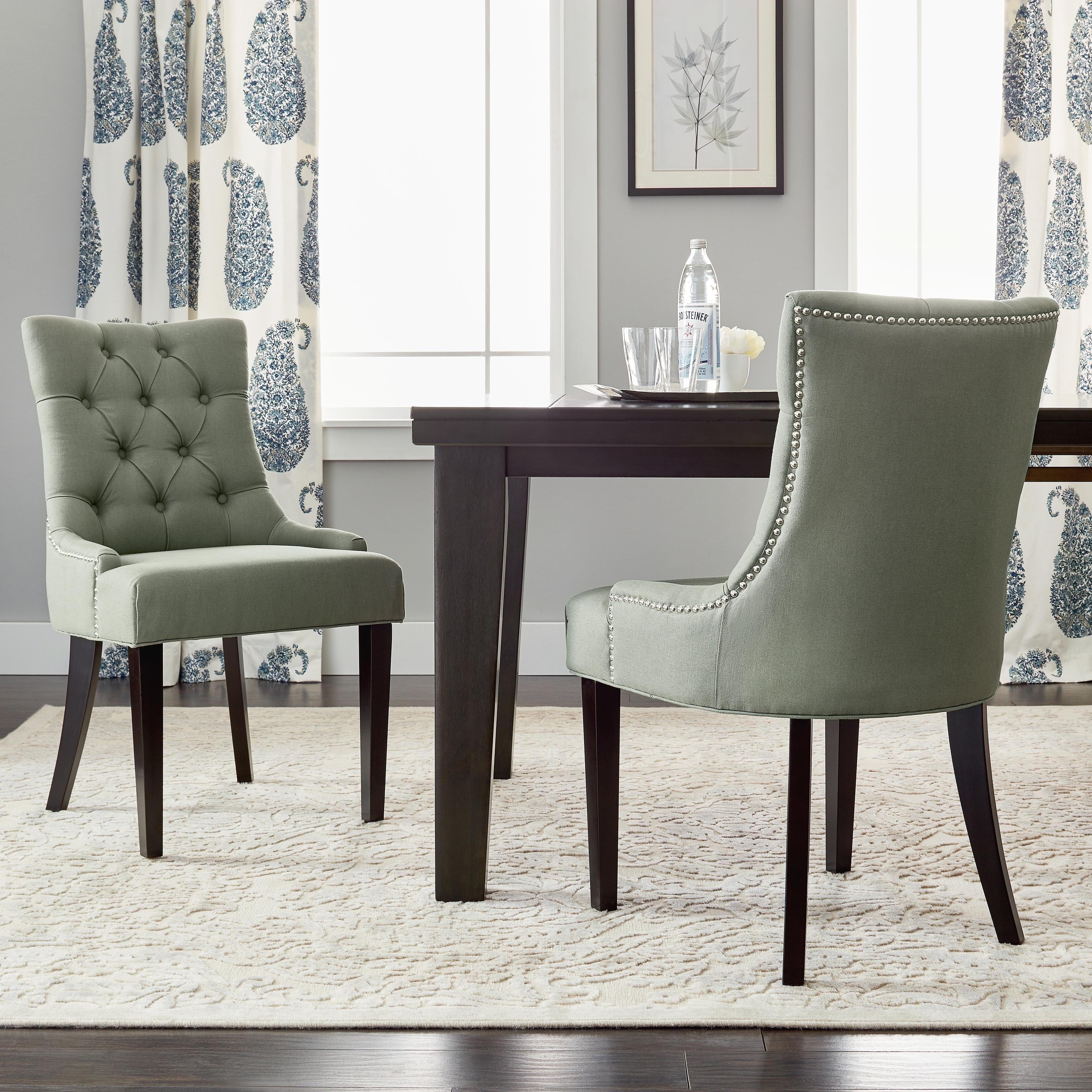 Shop Safavieh En Vogue Dining Abby Grey Linen Nailhead Dining Chairs (Set  Of 2)   Free Shipping Today   Overstock.com   6793843
