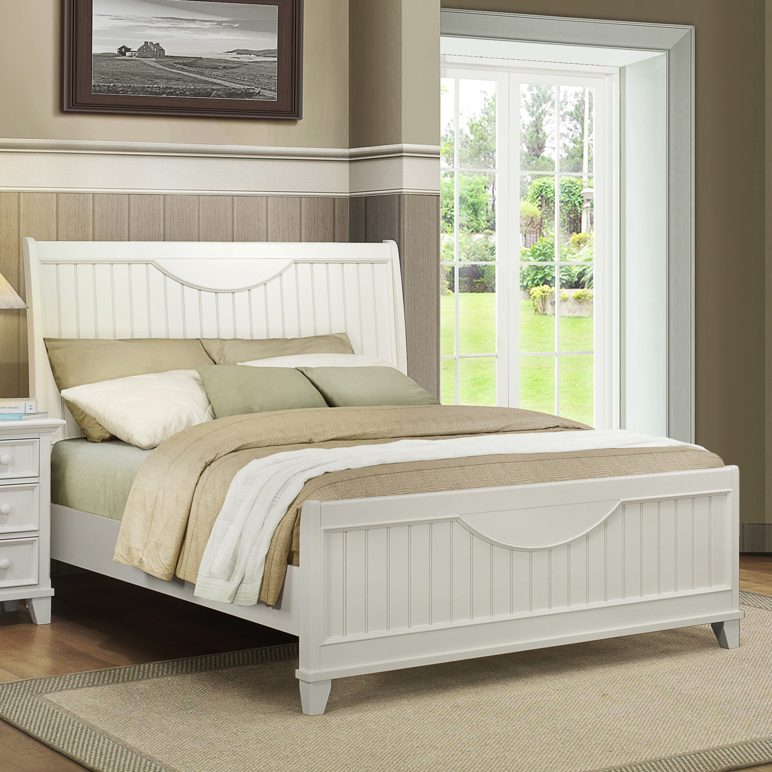 Tribecca Home Alderson Cottage White Beadboard Crescent Shaped Queen Size Bed