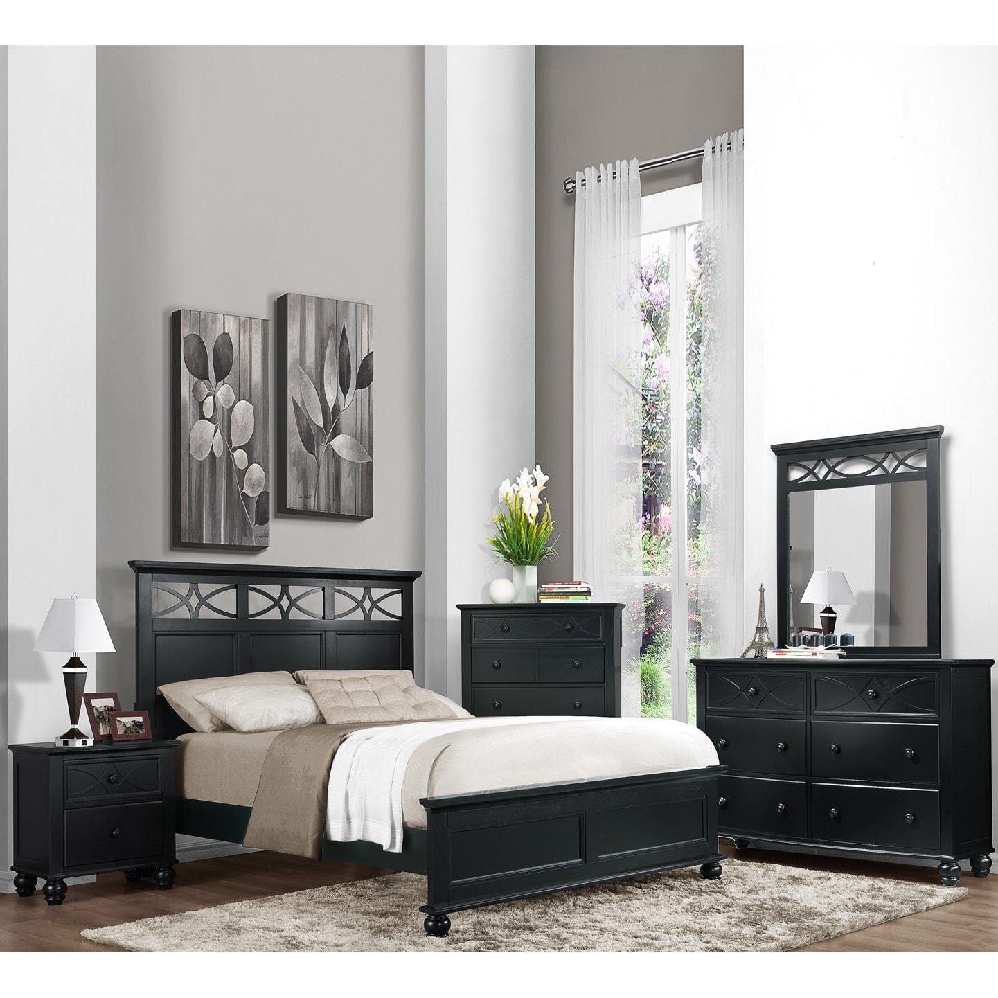 Shop tribecca home piston 5 piece black rubberwood bedroom free shipping today overstock com 6799863