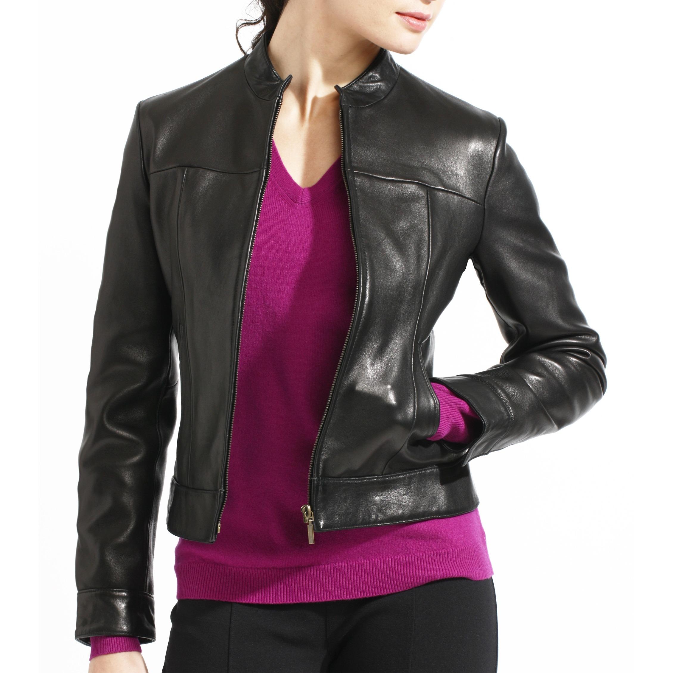 Shop Women s Black Lambskin Leather Scuba Jacket - On Sale - Free ... 89fa24176
