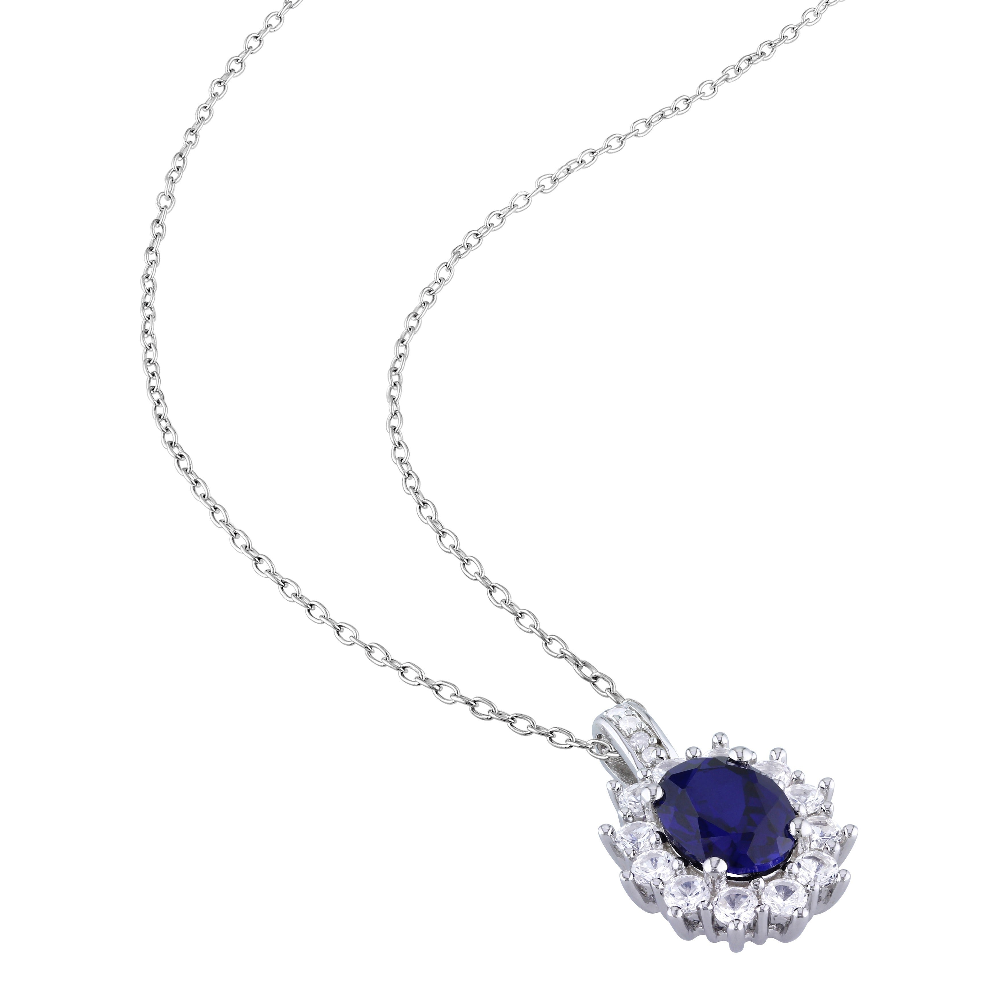 c1afe709f Shop Miadora Sterling Silver Created Blue and White Sapphires and Diamond  Accent Halo Necklace (G-H, I2-I3) - On Sale - Free Shipping Today -  Overstock - ...