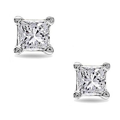 Montebello 10kt White Gold Tiny Princess Cut Single Diamond Men S Earring Free Shipping Today 6811384