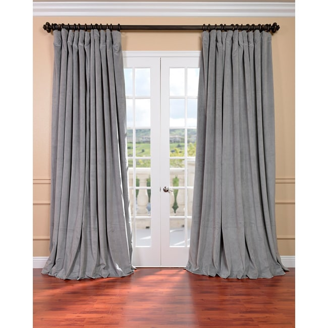 Exclusive Fabrics Silver Grey Velvet Blackout Extra Wide Curtain Panel    Free Shipping Today   Overstock.com   14344697