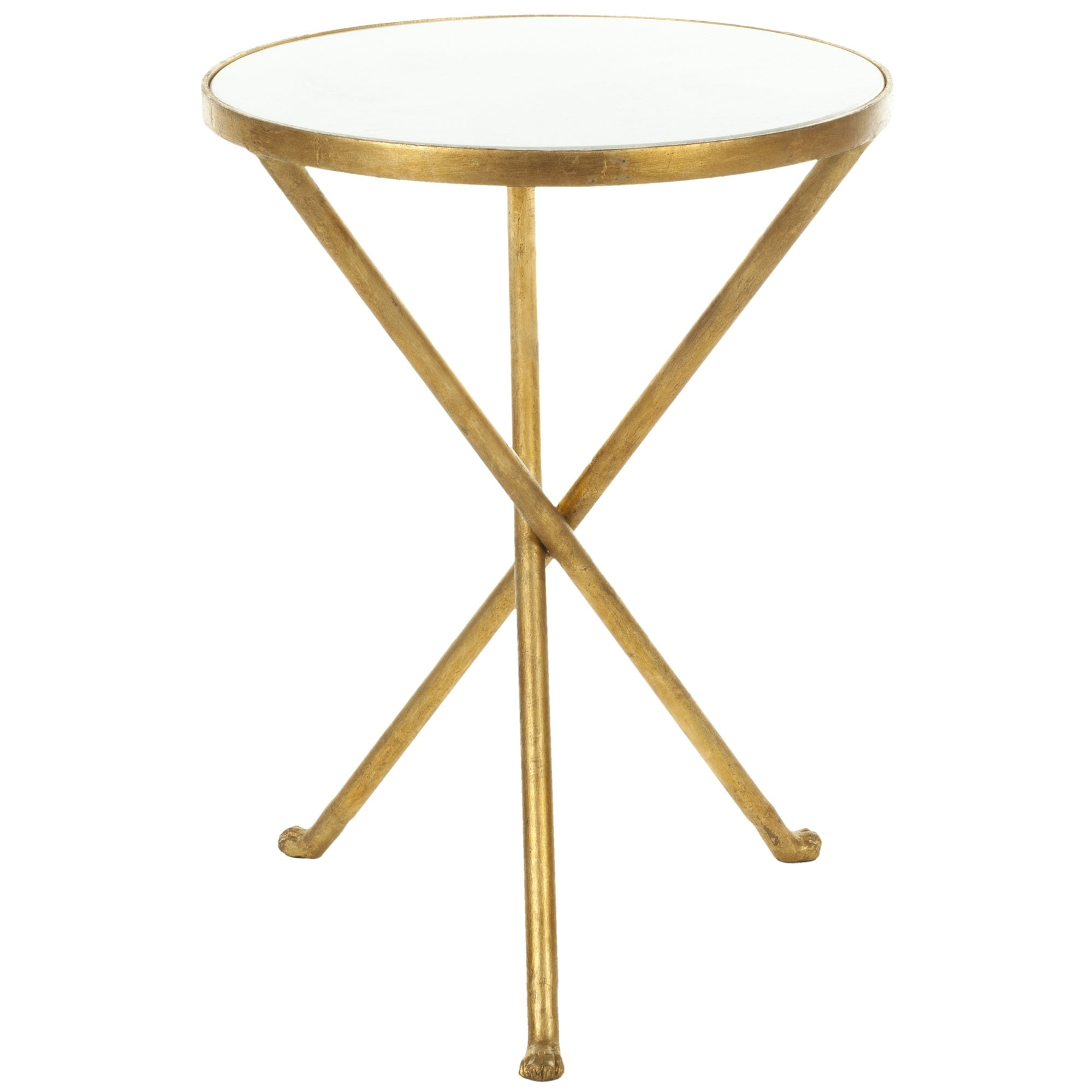 Genial Shop Safavieh Hidden Treasures White Granite Brass Accent Table   Free  Shipping Today   Overstock.com   6811742