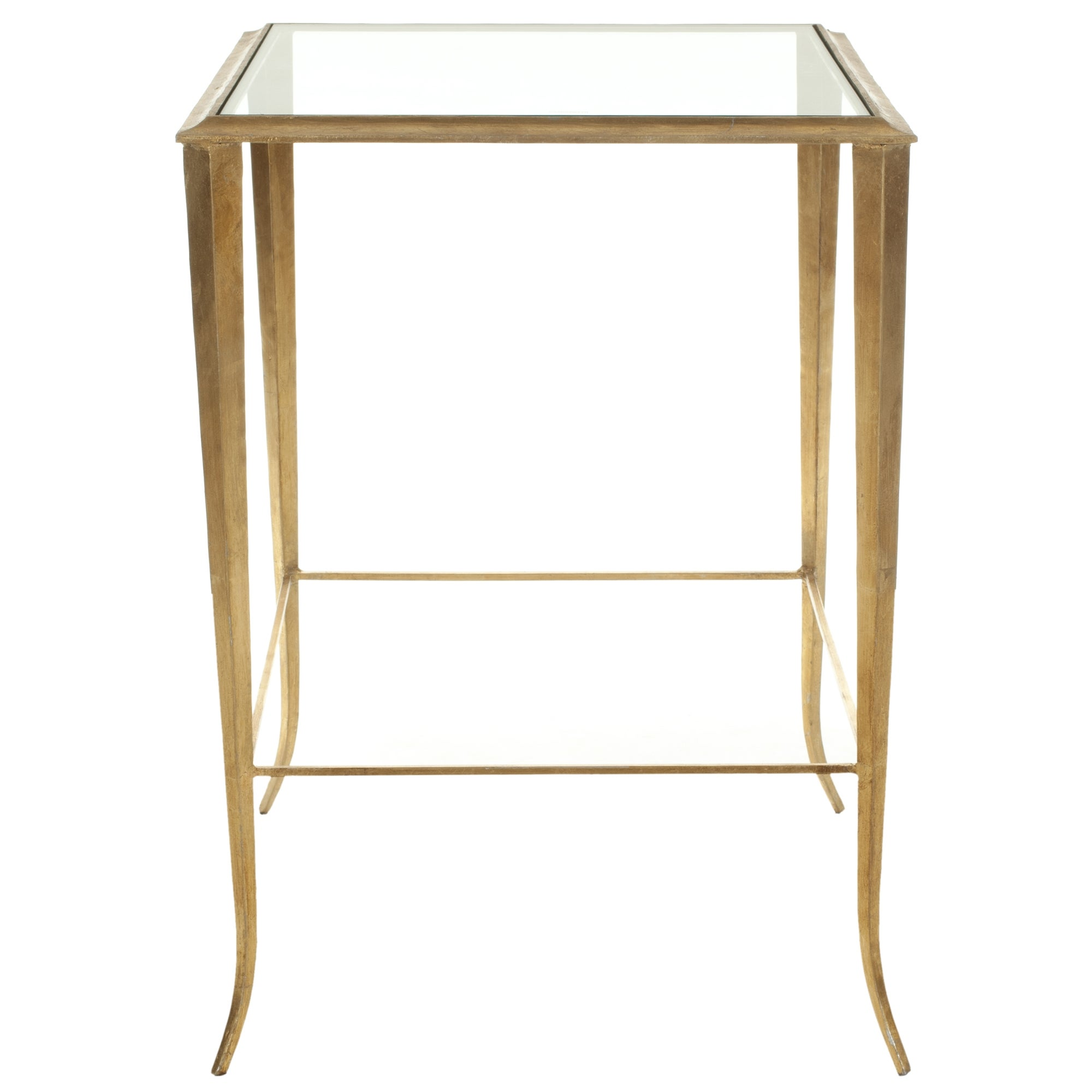 Shop Safavieh Hidden Treasures Glass Top Brass Accent Table Free