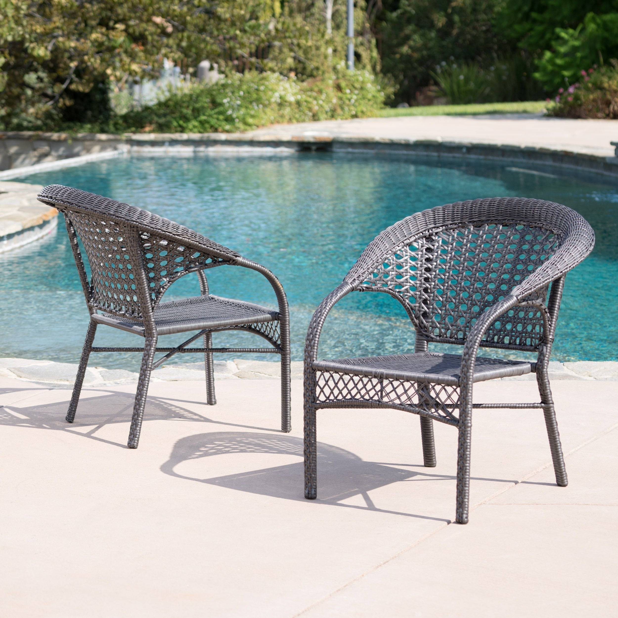 Maria dark grey wicker fan back outdoor club chairs set of 2 by christopher knight home
