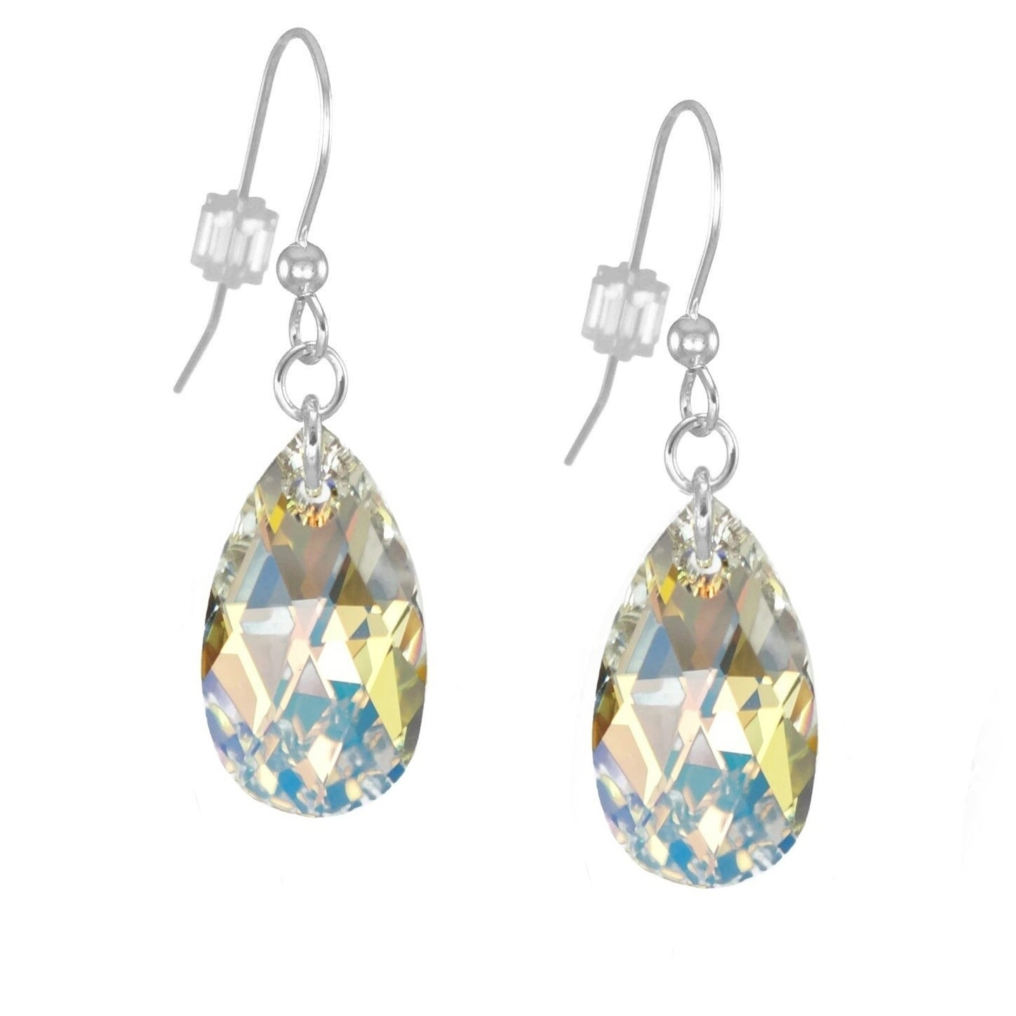 5d81337da Handmade Jewelry by Dawn Sterling Silver Crystal Aurora Borealis Pear  Earrings (USA)