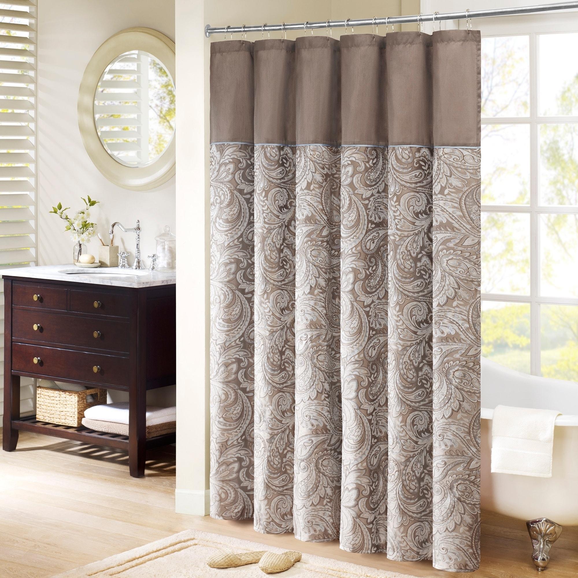 Madison Park Whitman Blue Jacquard Faux Silk Shower Curtain