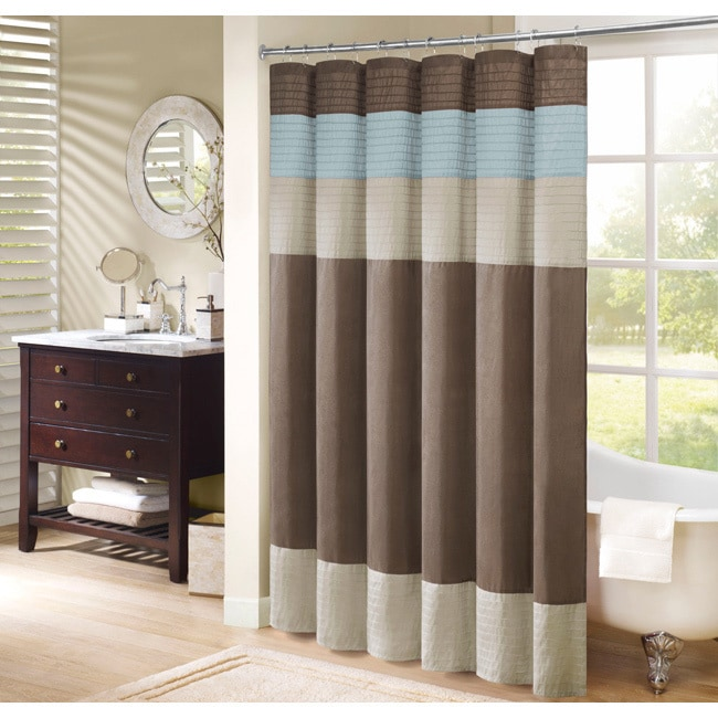 Shop Madison Park Trinity Pieced Faux Silk Shower Curtain