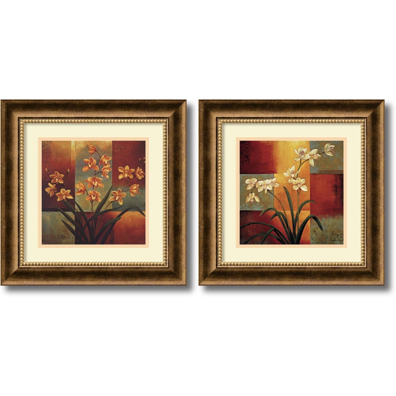 Framed Art Print \'Orchids - set of 2\' by Jill Deveraux 17 x 17-inch ...