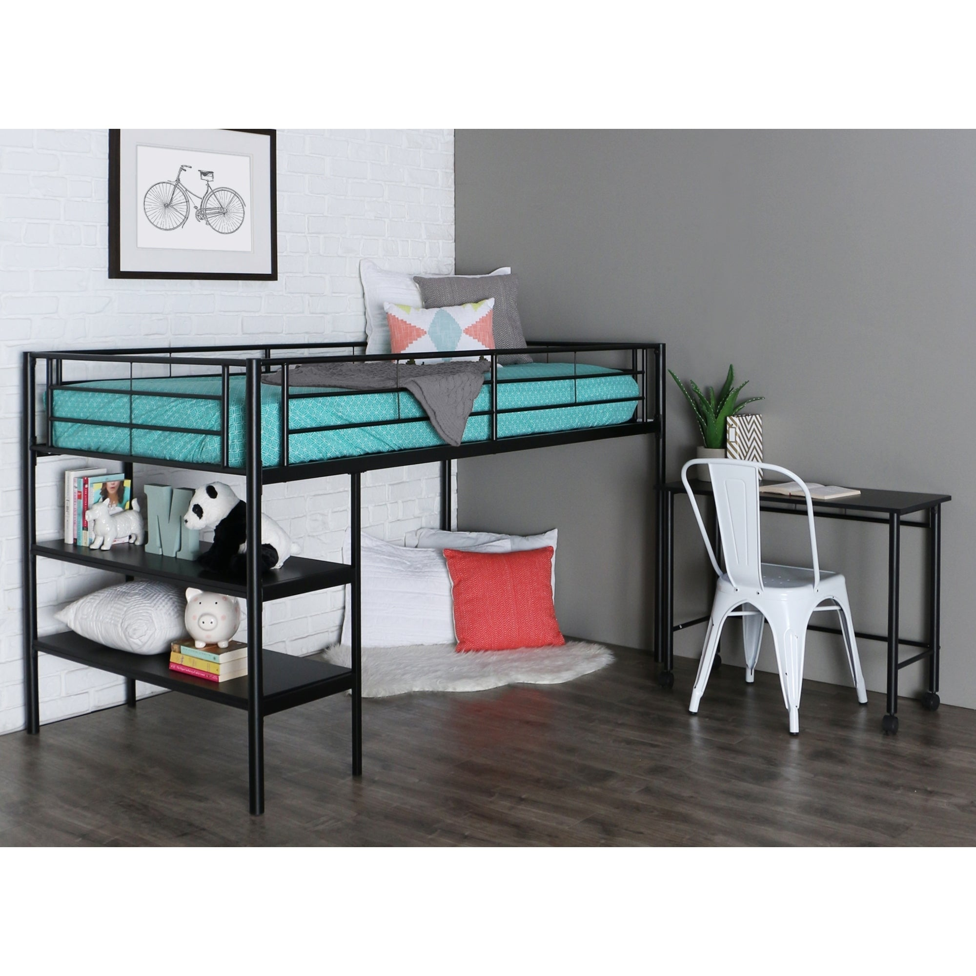 cfm product hayneedle wesley bed master roundtubetwinoverfullbunkbedsilver over silver full duro twin desk loft bunk with
