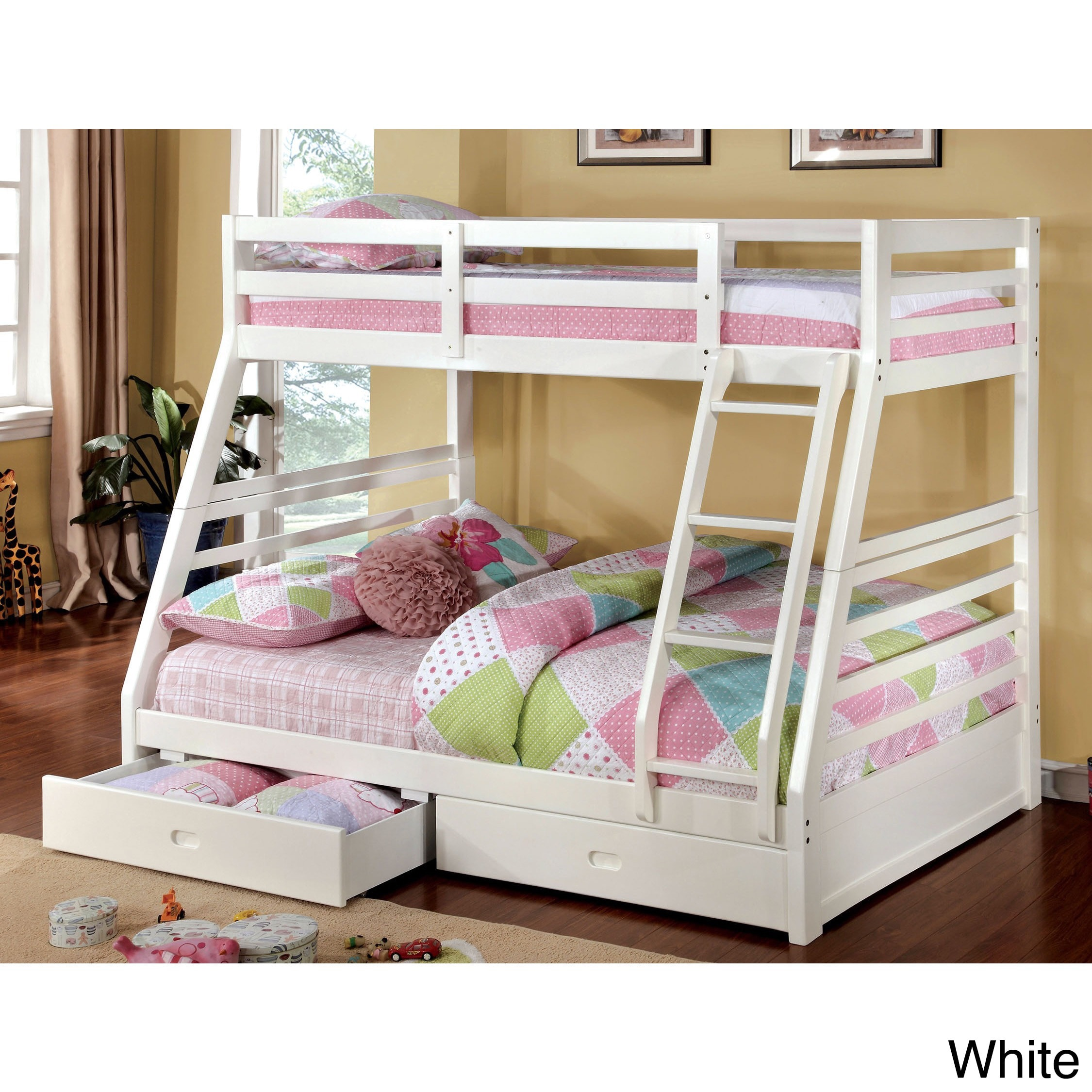 Furniture Of America Junior Roomates Twin Over Full Bunk Bed With 2 Drawers Set