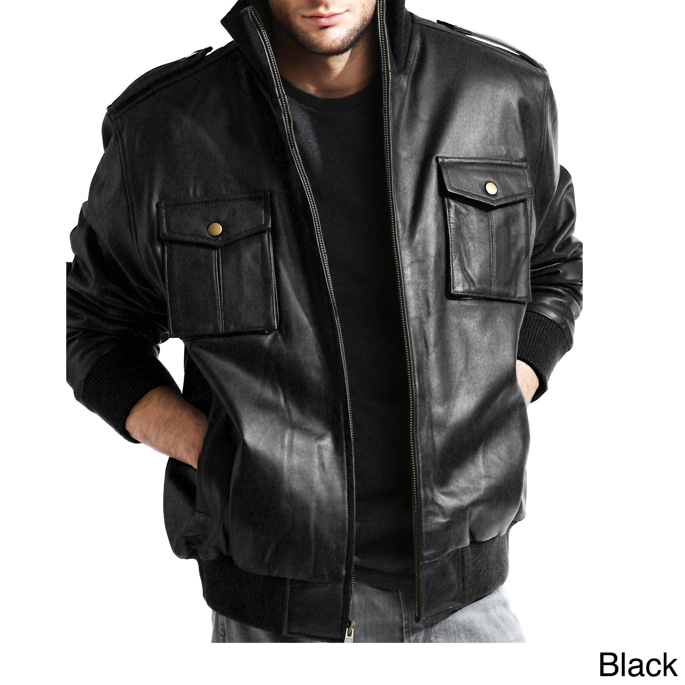 Men's Pig Napa Leather Military Bomber Jacket - Free Shipping ...