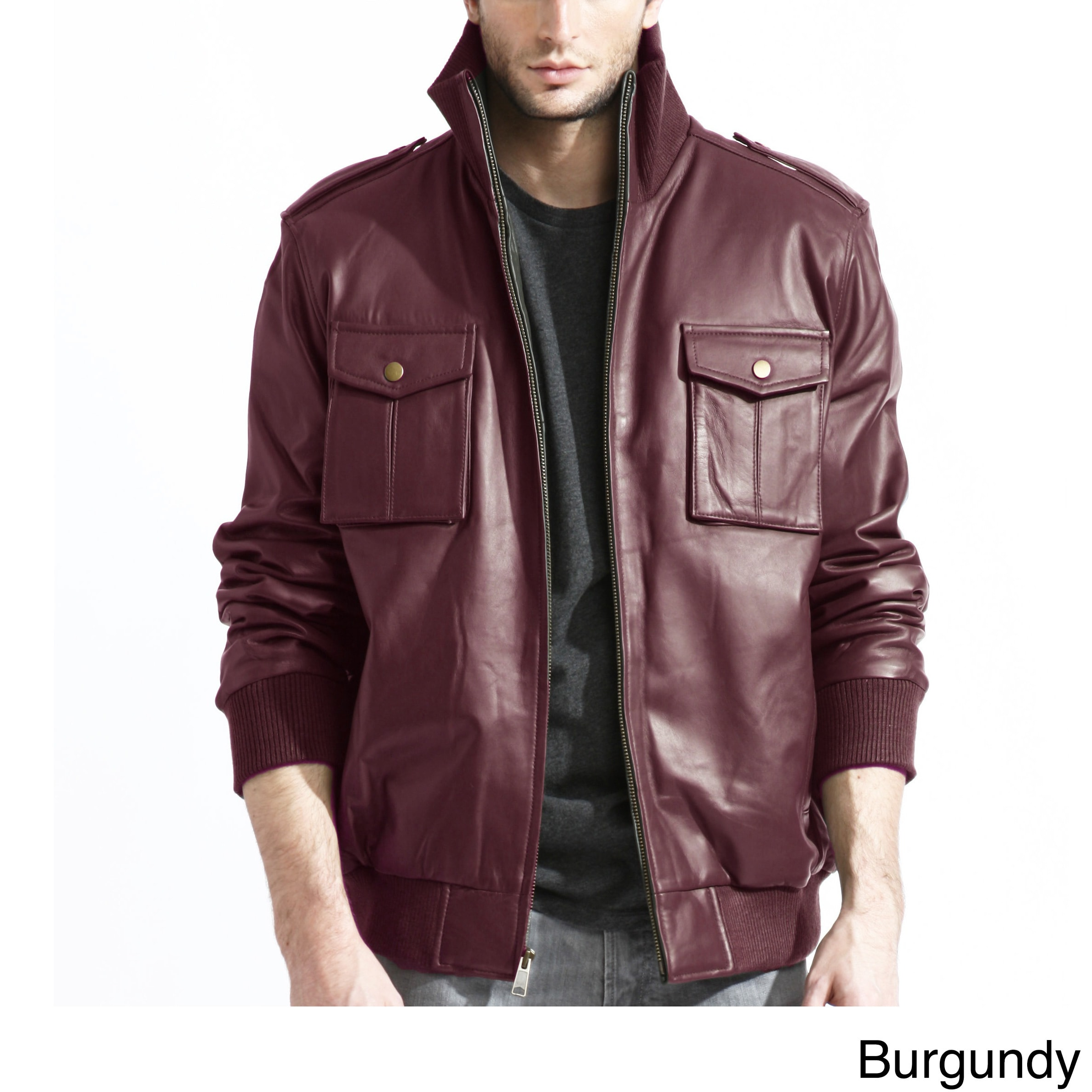 0eb4e5b1f Men's Pig Napa Leather Military Bomber Jacket
