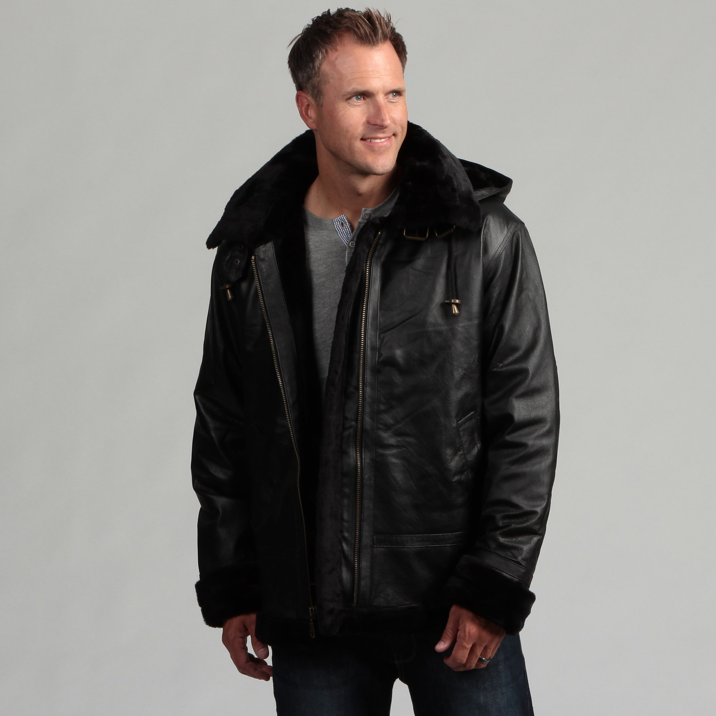 Shop Tanners Avenue Men S Black Leather Shearling Bomber Jacket