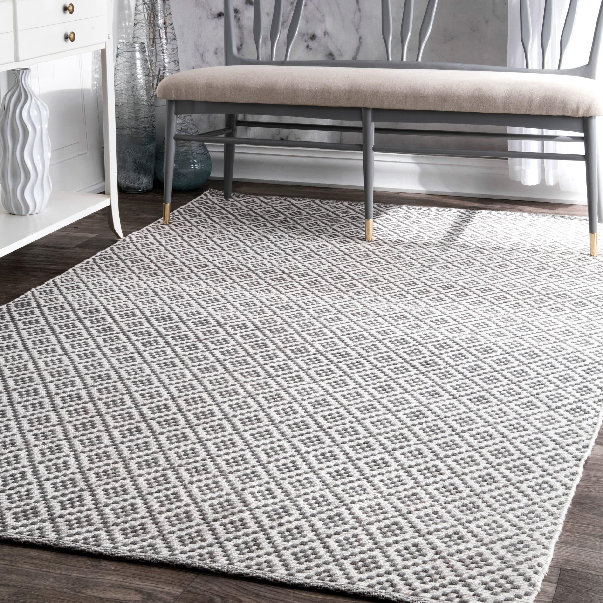 nuLOOM Handmade Flatweave Moroccan Trellis Cotton Rug 5 x 8