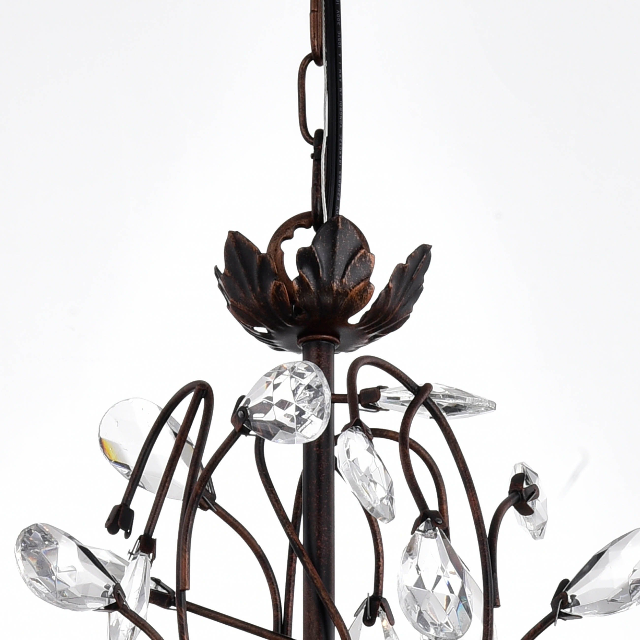 Shop Holly Light Antique Copper Crystal Leaves Chandelier On - Chandelier leaves crystals