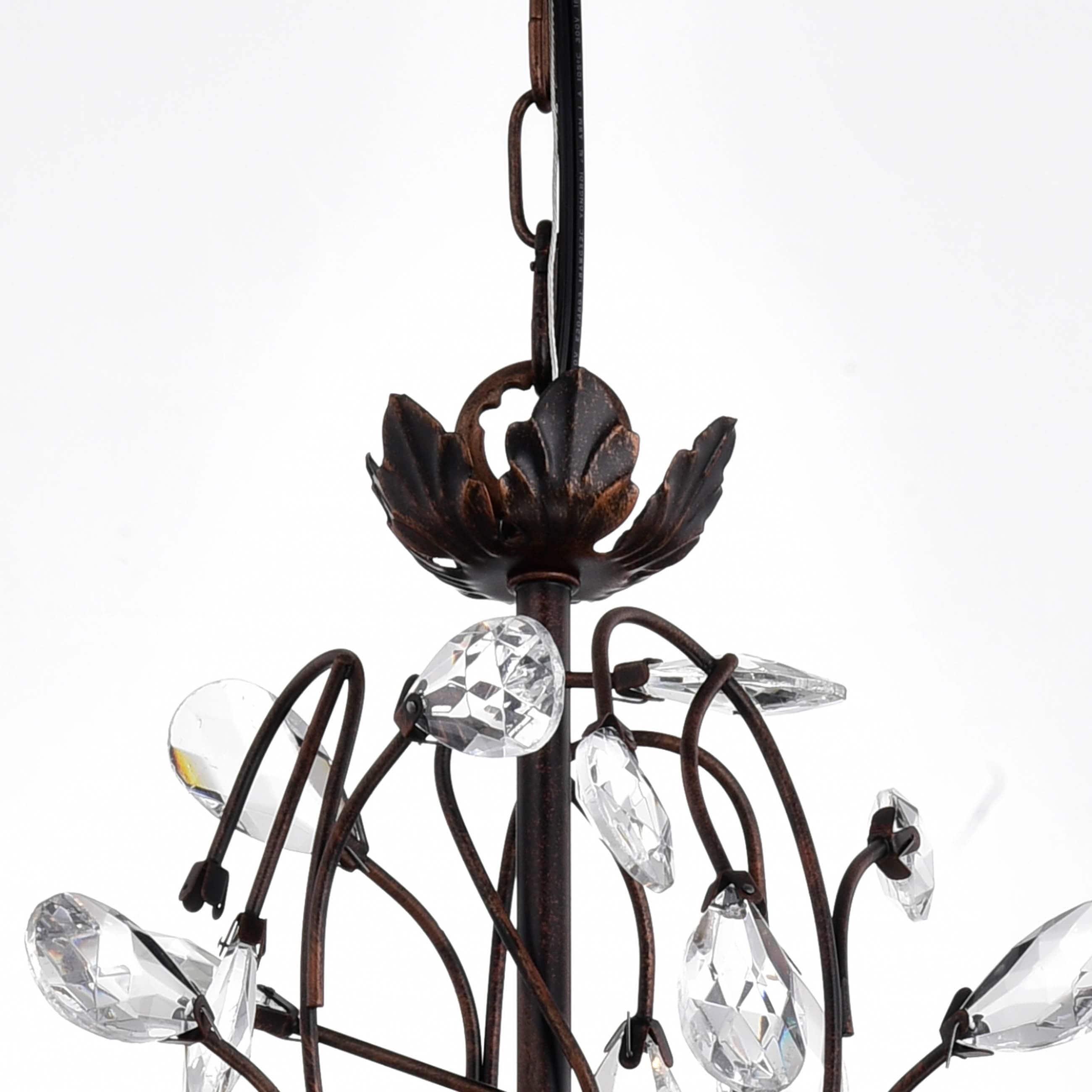 Shop Holly Light Antique Copper Crystal Leaves Chandelier On - Chandelier leaves crystals