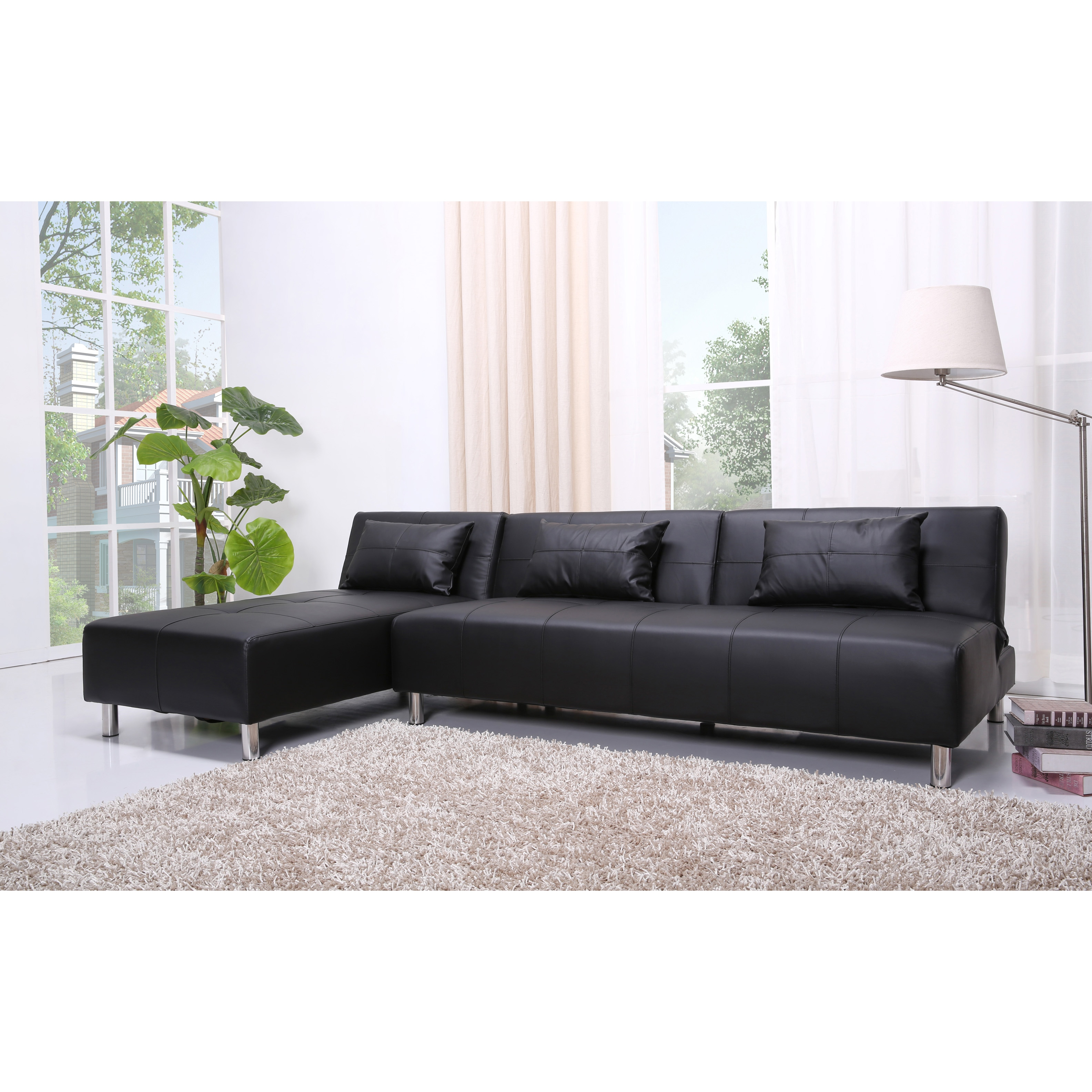 Atlanta Black Faux Leather Convertible Sectional Sofa Bed Free Shipping Today Com 6836293