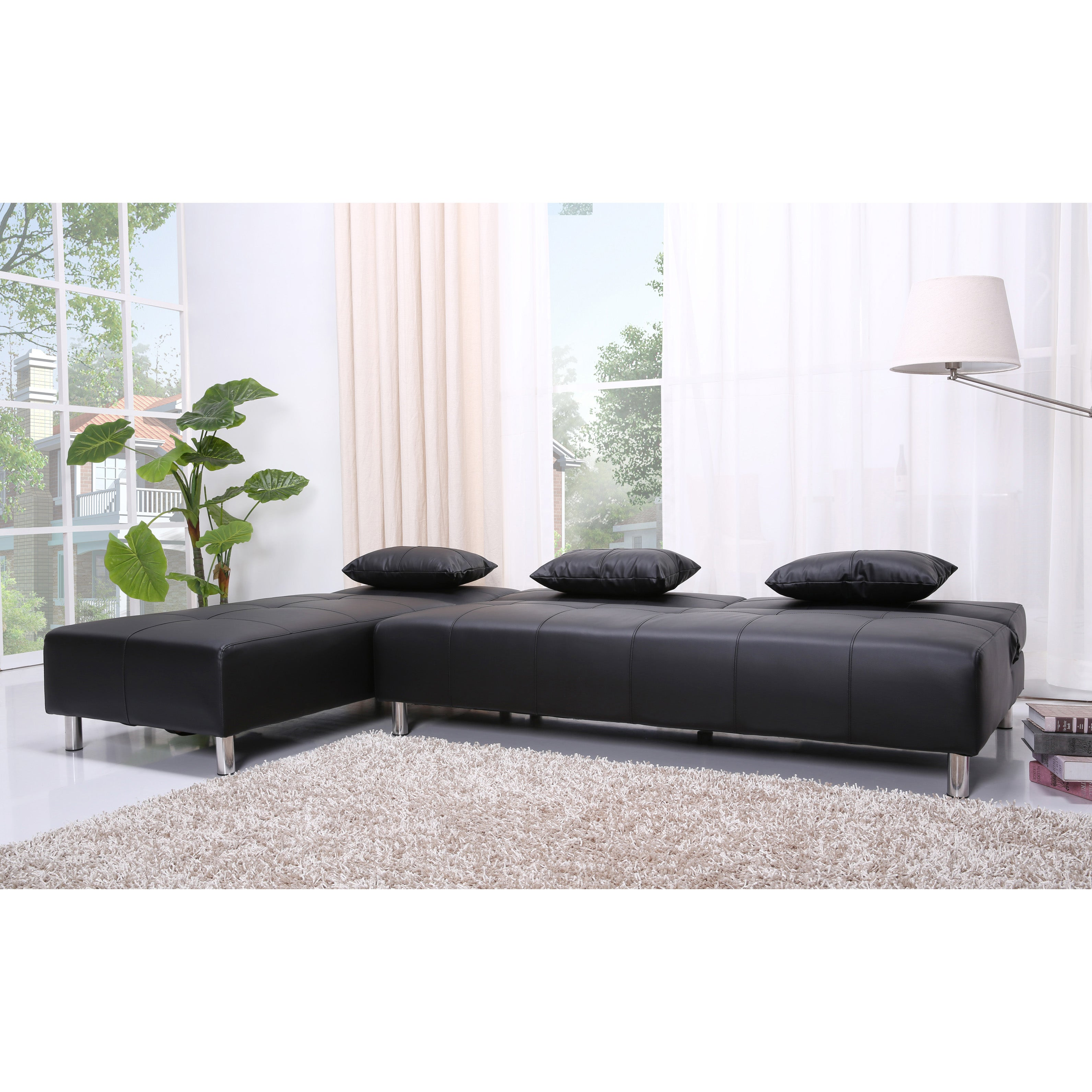 Atlanta Black Faux Leather Convertible Sectional Sofa Bed Free Shipping Today 6836293