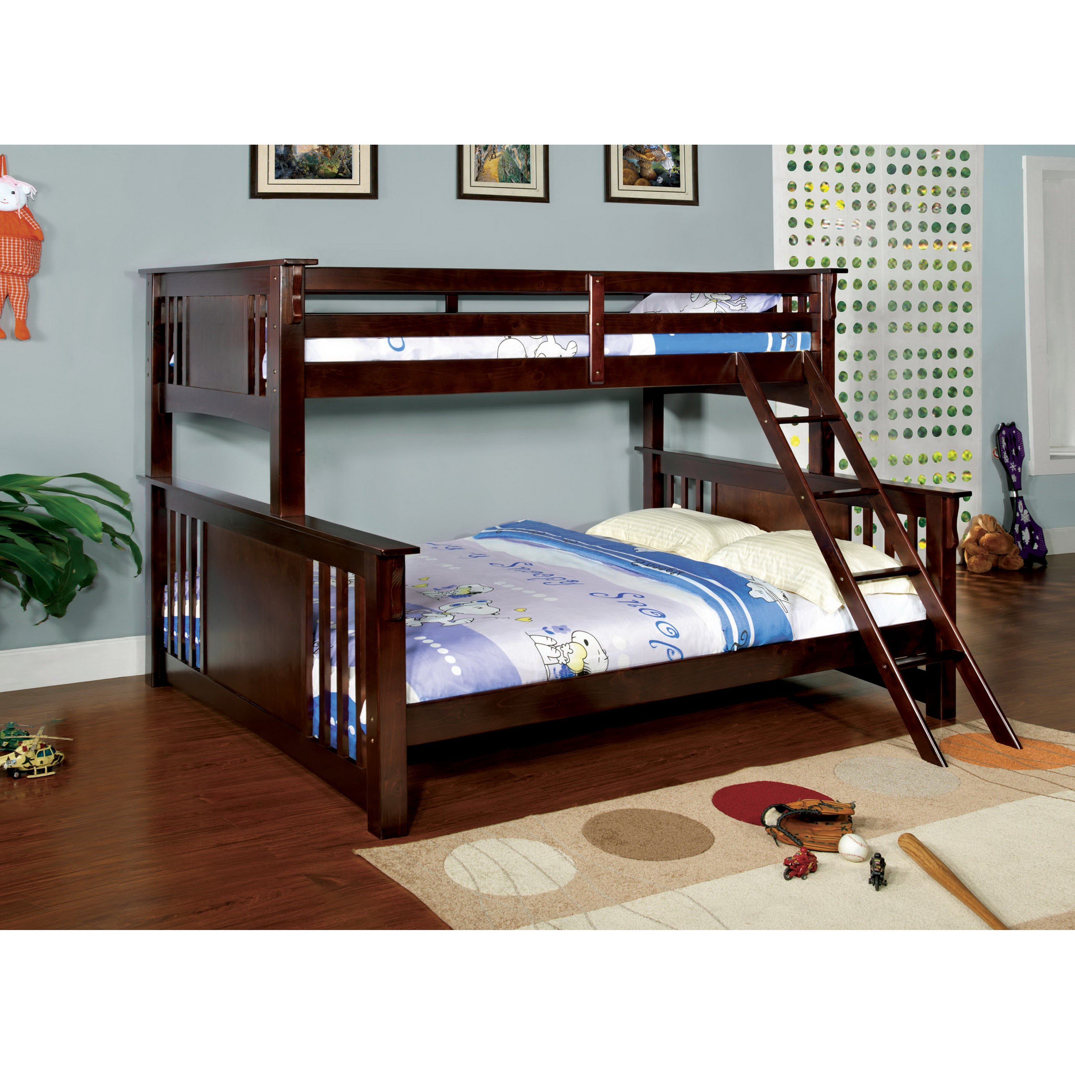 Shop Furniture Of America Junior Twin Over Queen Bunk Bed With Chest