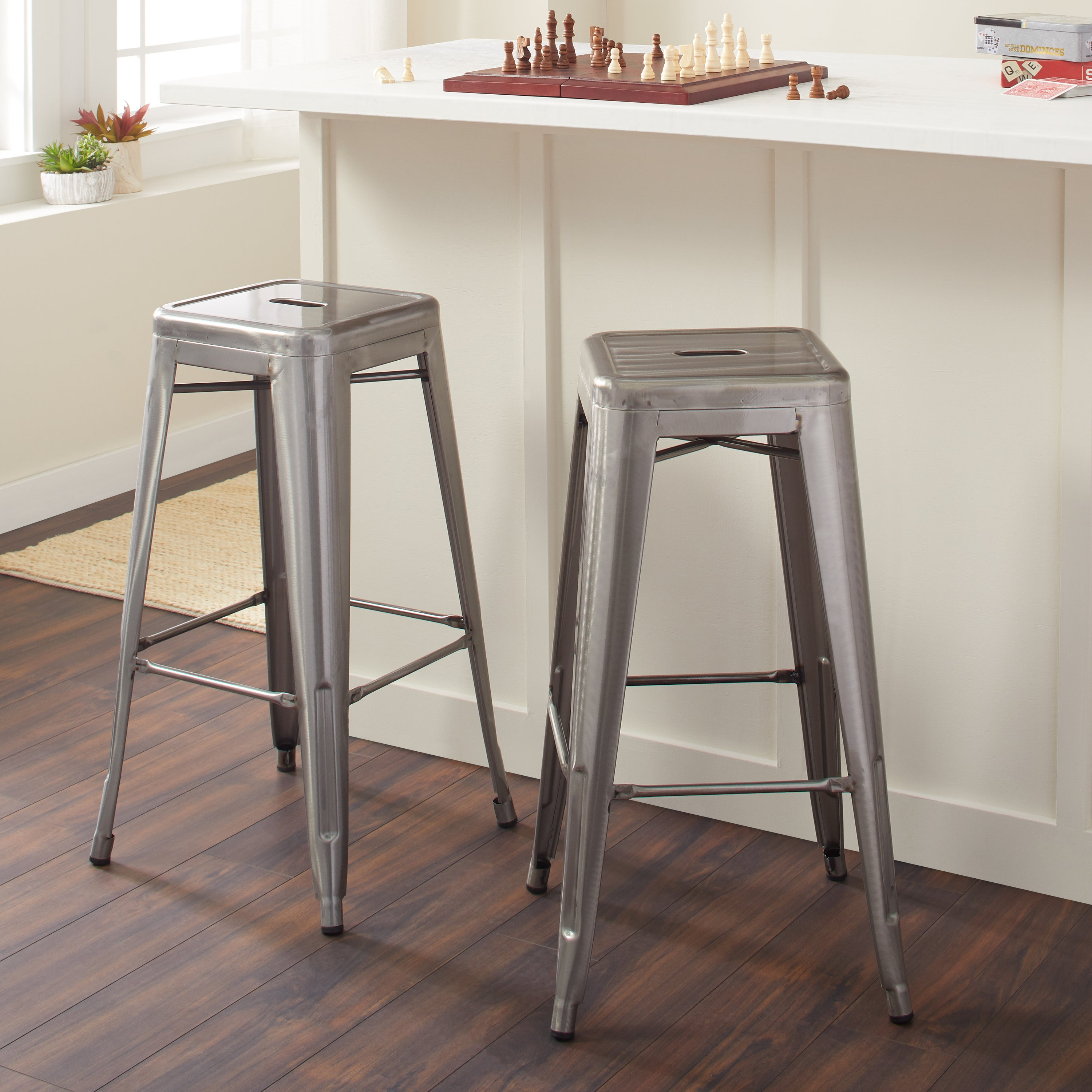 Tabouret 30 Inch Vintage And Gunmetal Bar Stools Set Of 2 Free Shipping Today 6839587