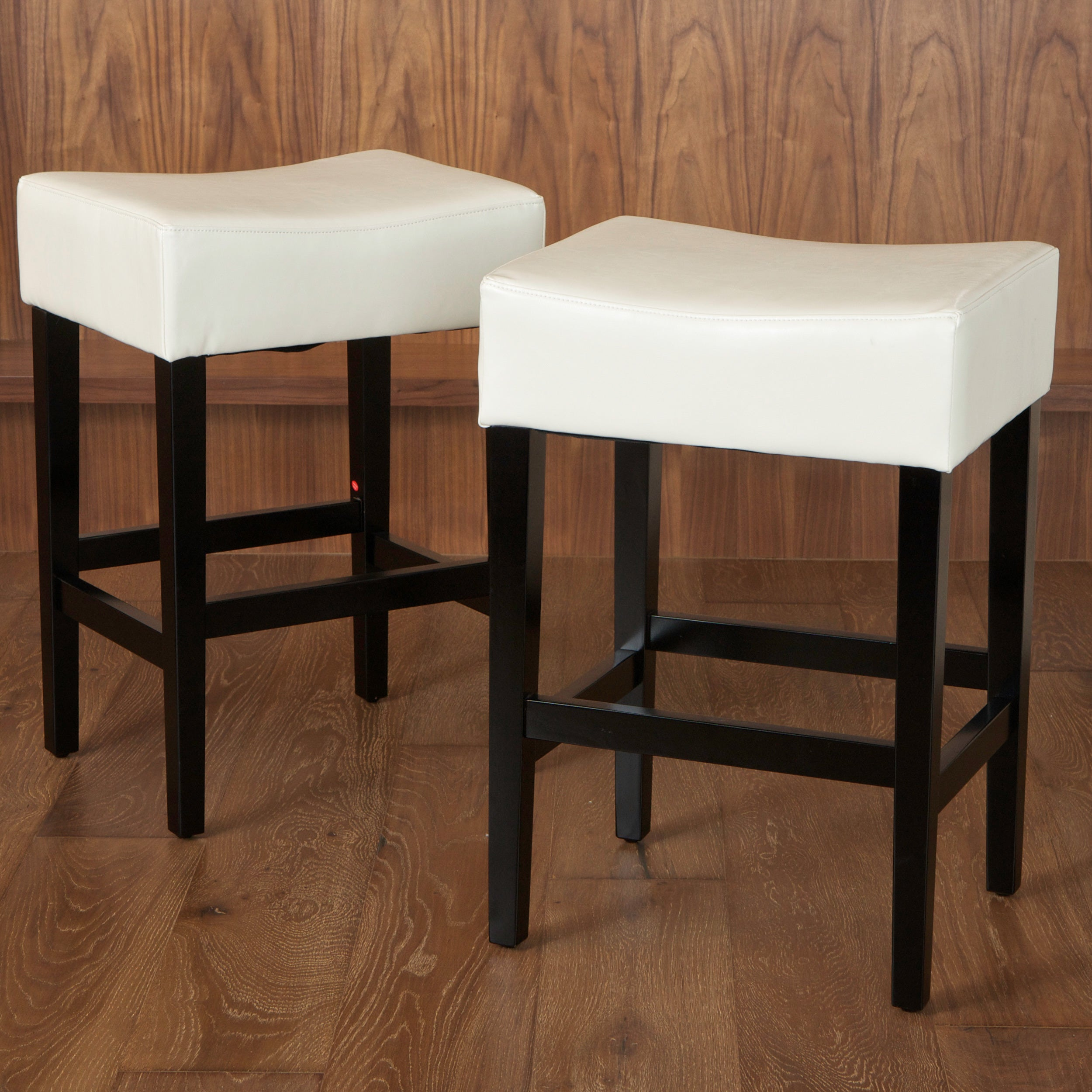 Shop lopez 27 inch backless ivory leather counterstools set of 2 by christopher knight home free shipping today overstock com 6843231