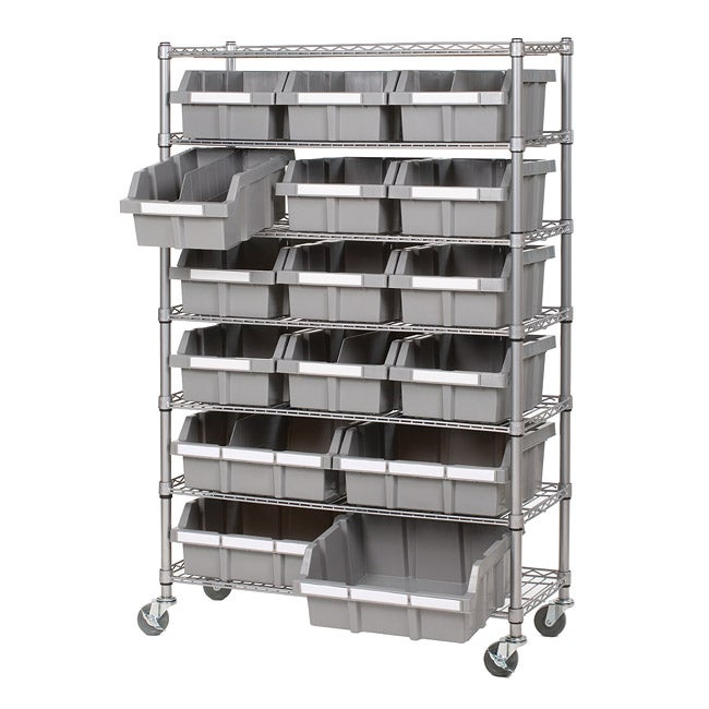 Shop Seville Classics 7 Shelf Commercial Bin Rack Storage System   Free  Shipping Today   Overstock.com   6857326