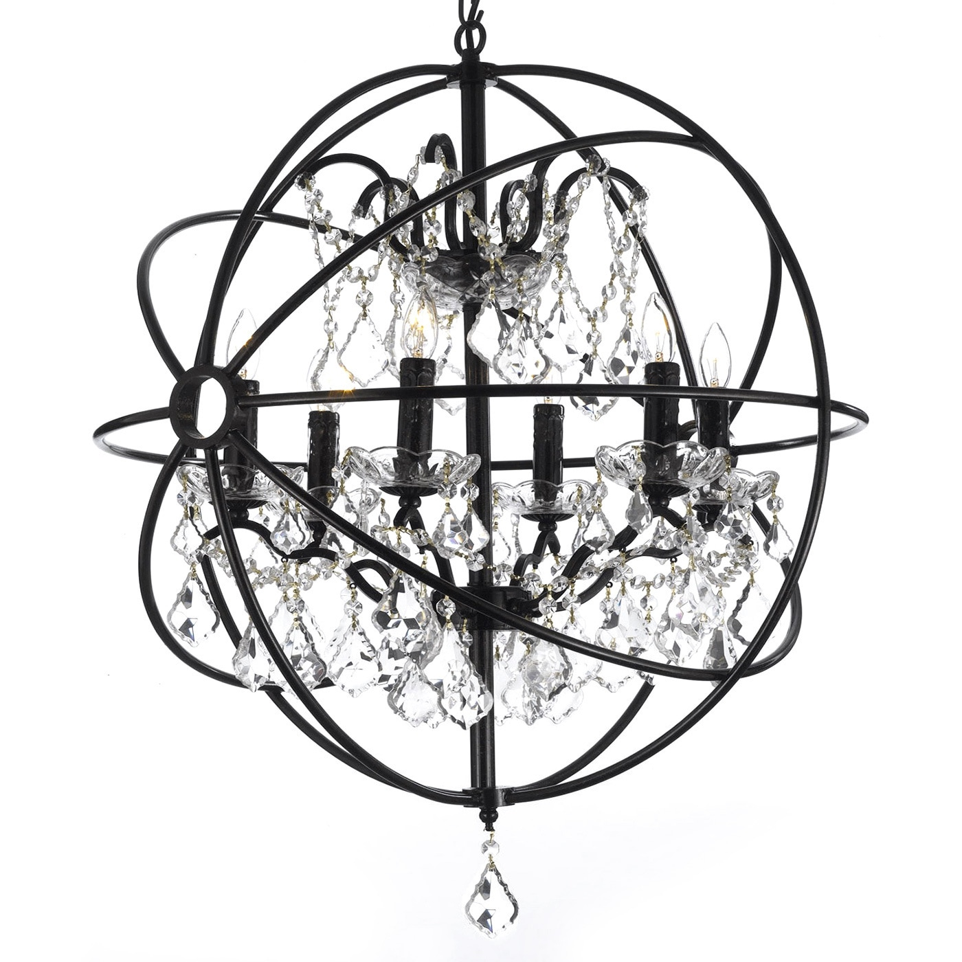 Foucault s Orb Crystal Iron 6 light Chandelier Free Shipping
