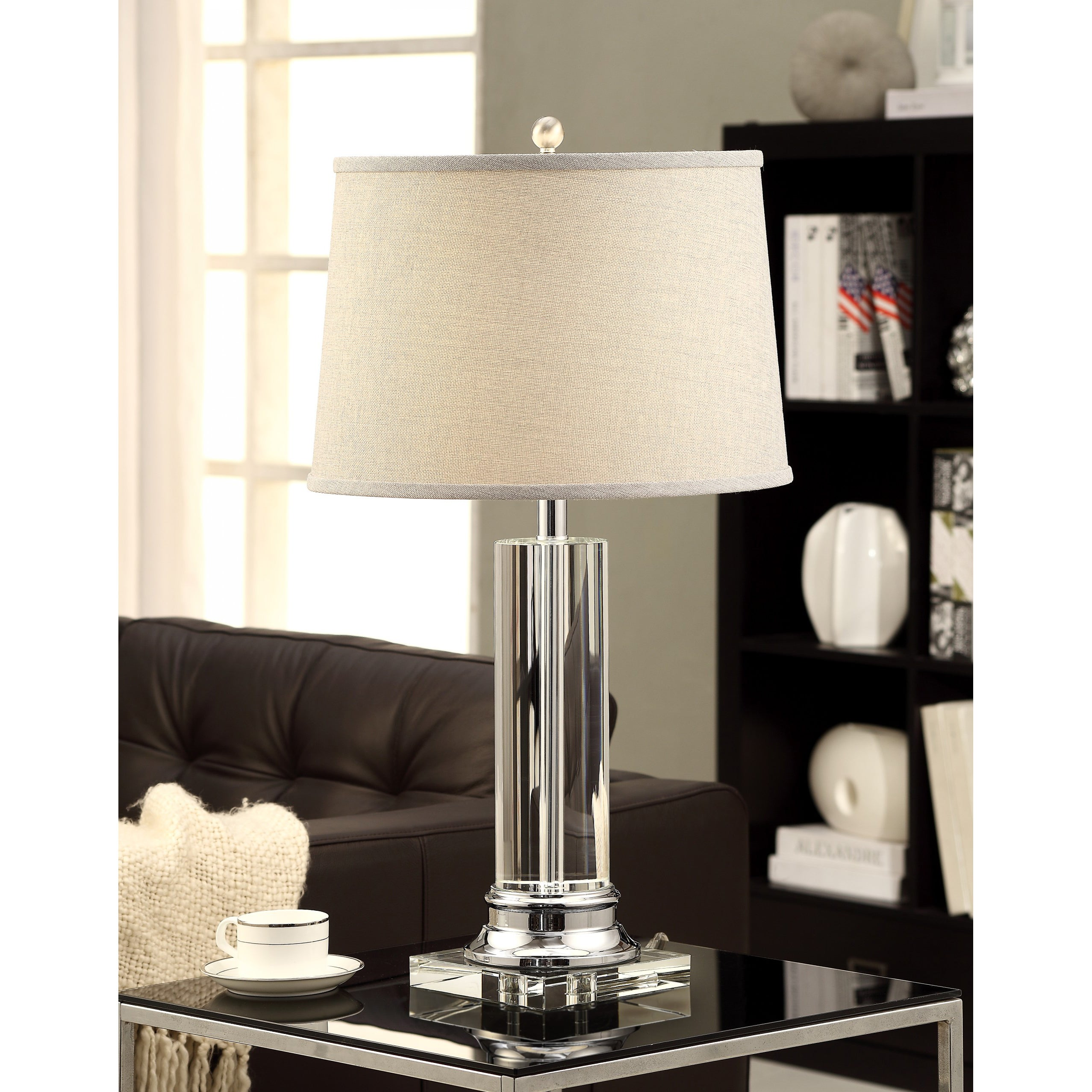 Porch den crystal column table lamp with grey shade