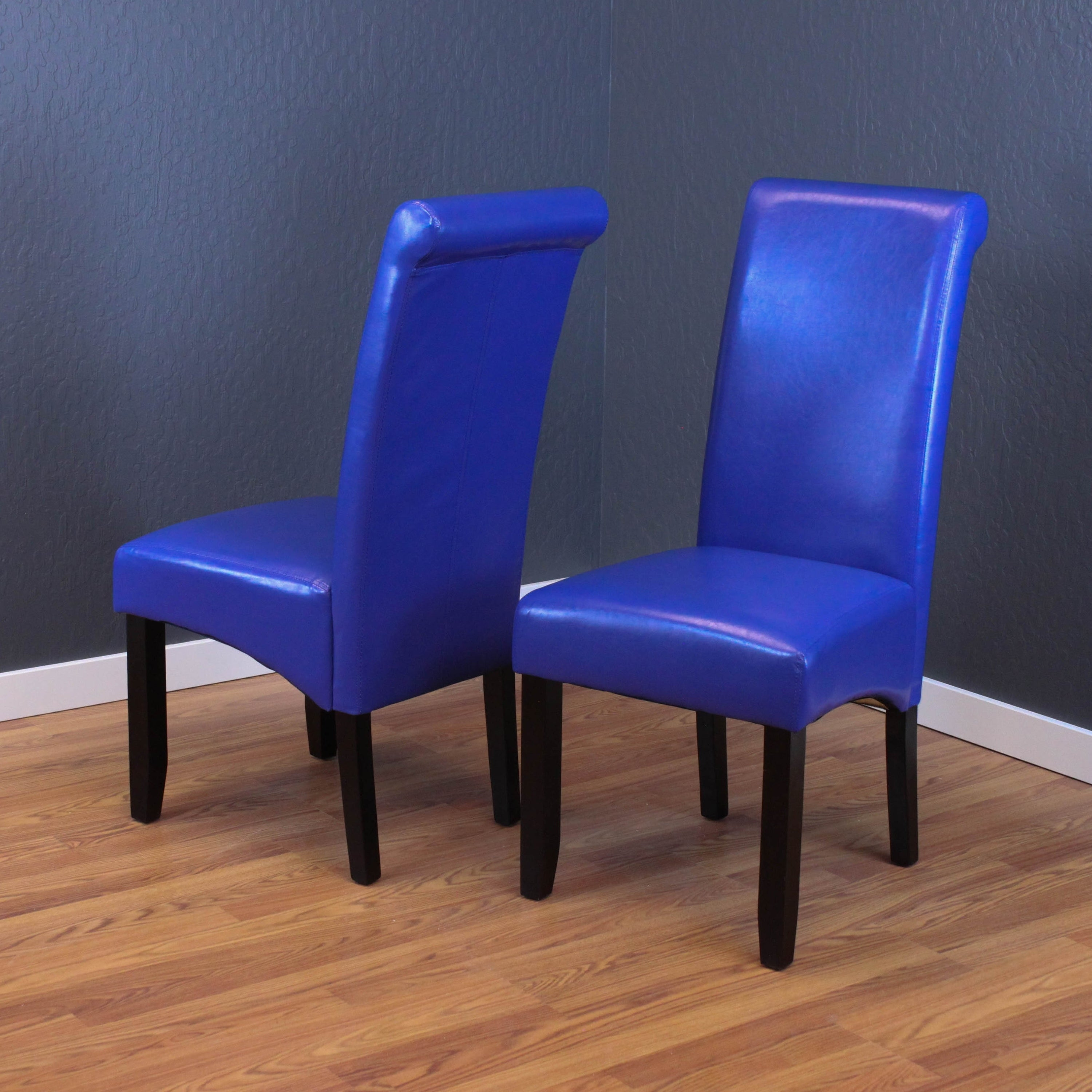 Shop milan blue faux leather dining chairs set of 2 free shipping today overstock com 6911649