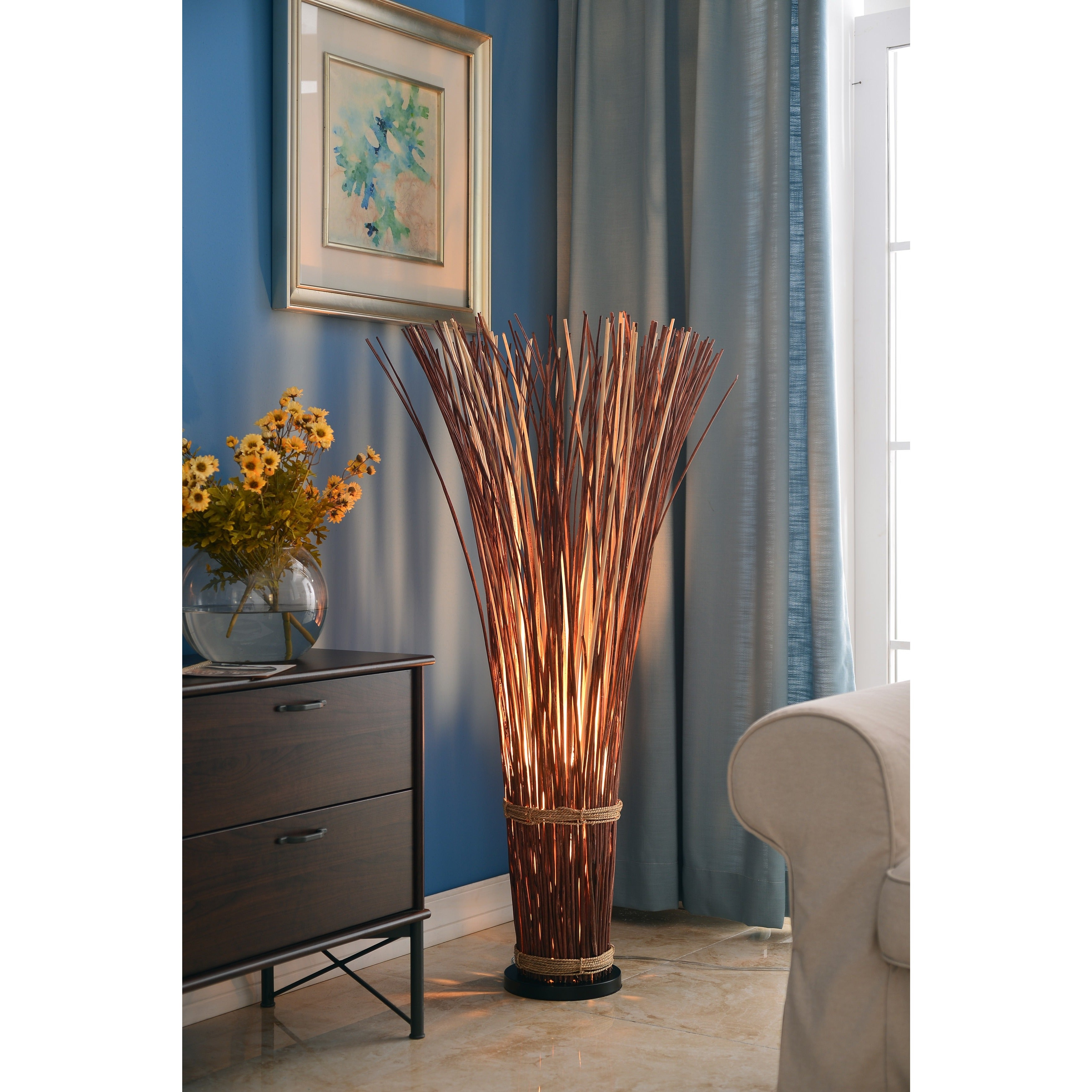 Design Craft Coastal Natural Reed 46 Inch Floor Lamp   Free Shipping Today    Overstock.com   14474411