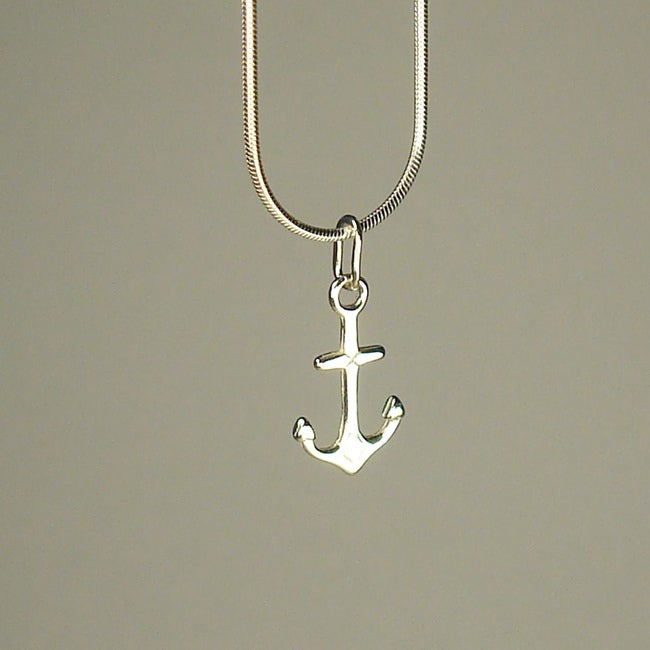 Handmade Jewelry by Dawn Small Anchor Sterling Silver Chain Necklace (USA)