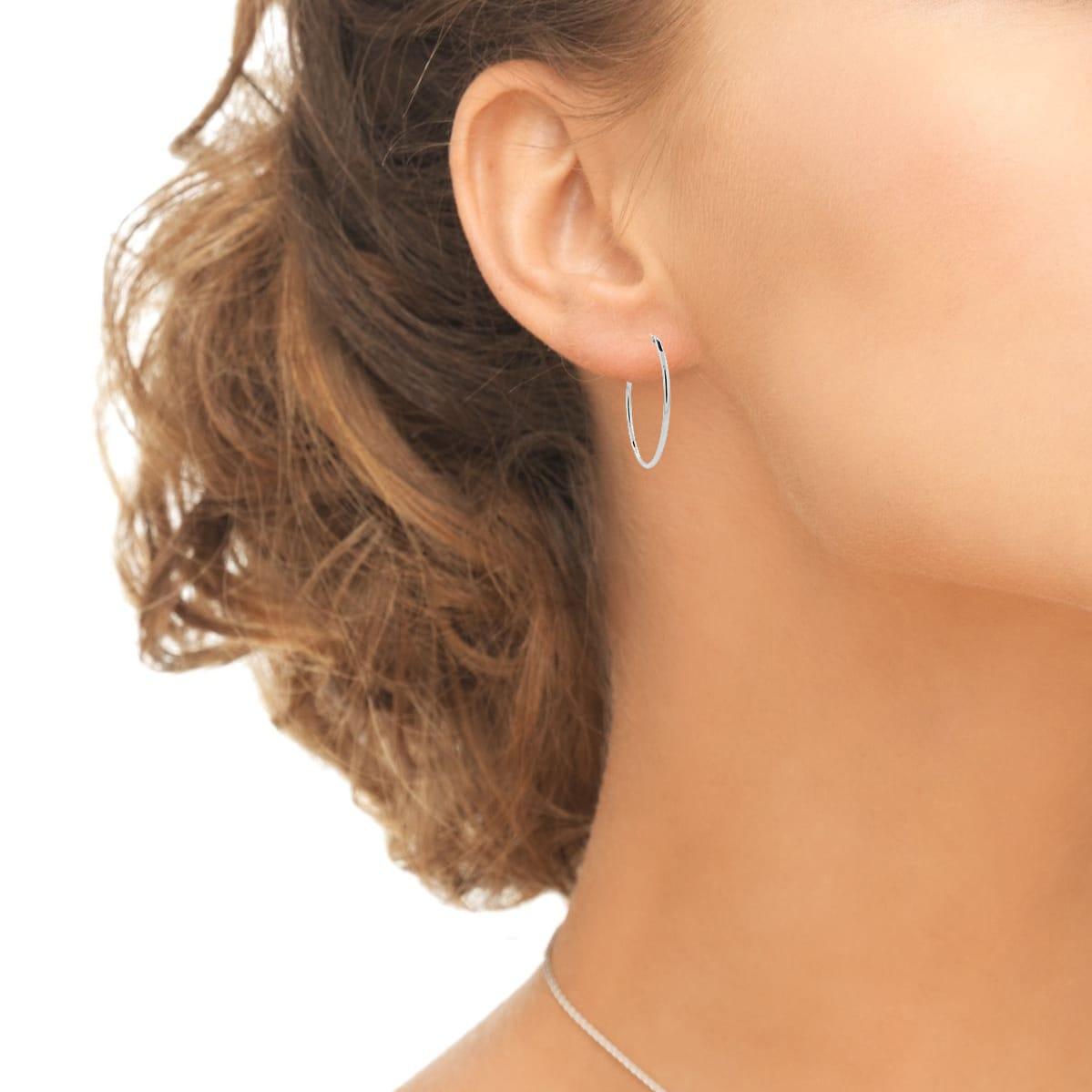 Mondevio 10 Karat High Polished One Mm White Gold Saddleback Hoop Earrings On Free Shipping Today 6963042
