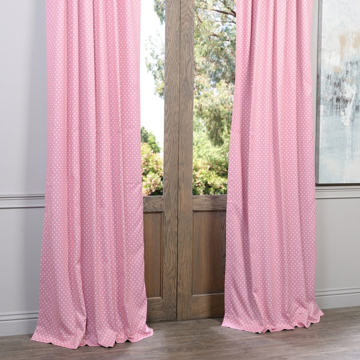 Exclusive Fabrics Pink Polka Dot Blackout Back Tab Pole Pocket Curtain
