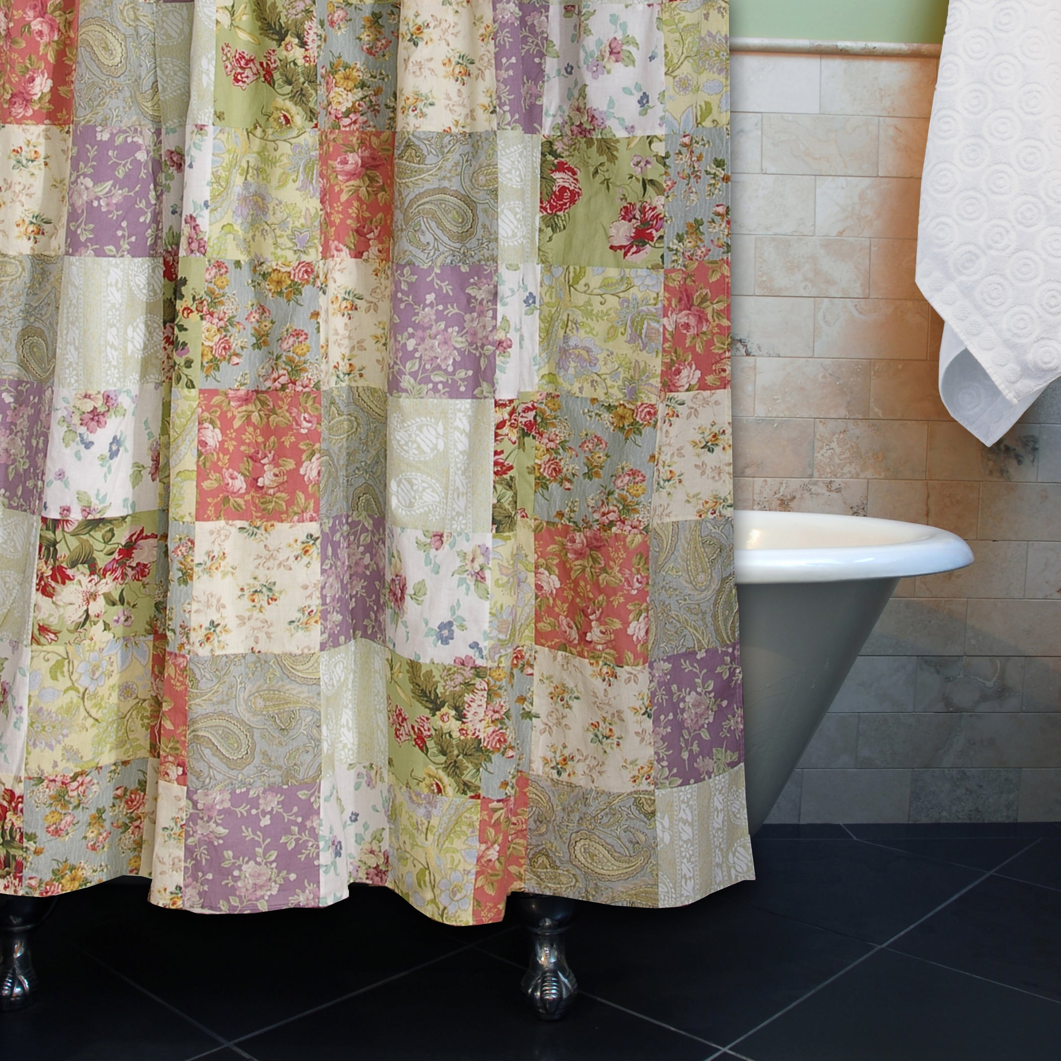 Shop Greenland Home Fashions Blooming Prairie Patchwork Cotton Shower Curtain