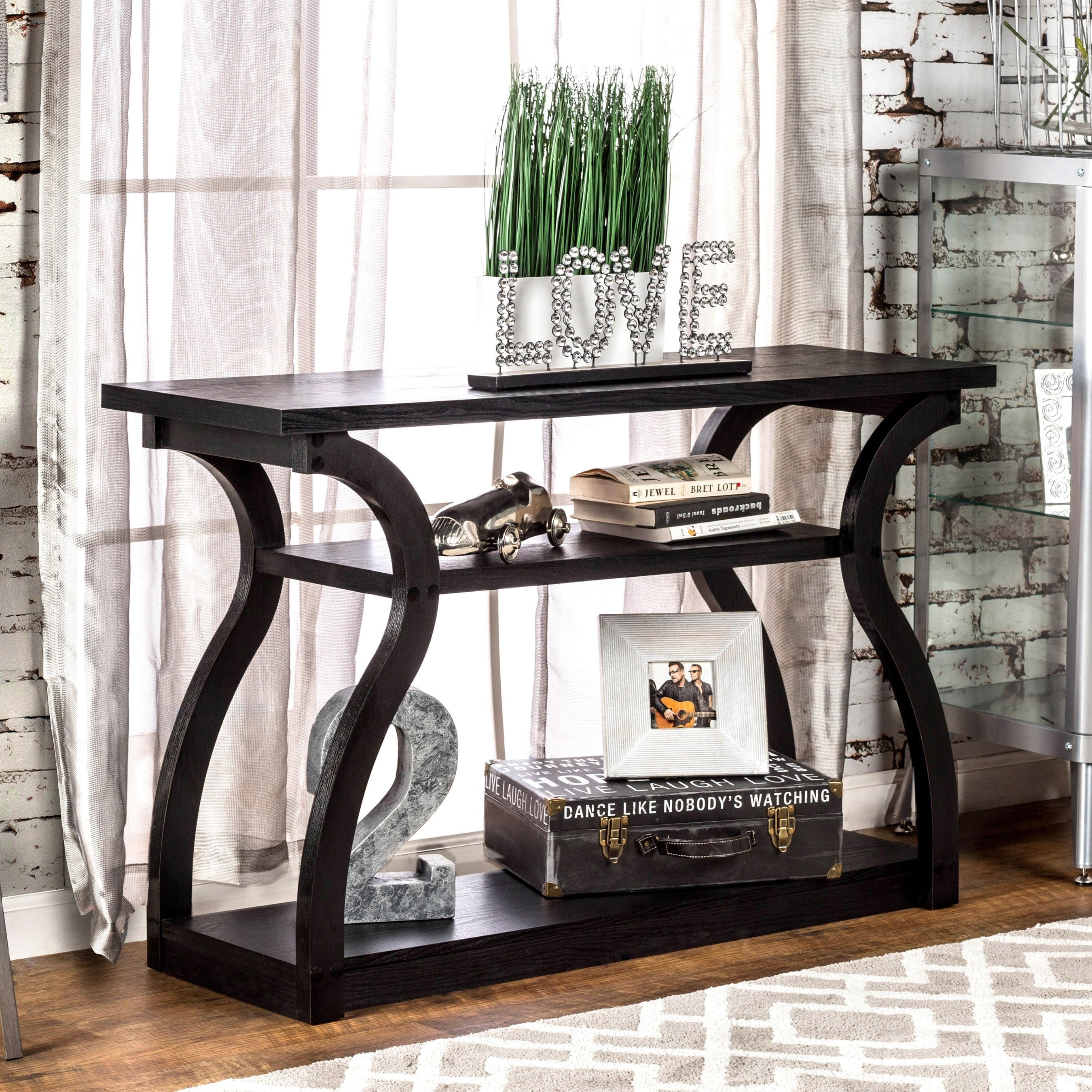 Sara Modern Black 2 Shelf Console Table By Foa Furniture Of America