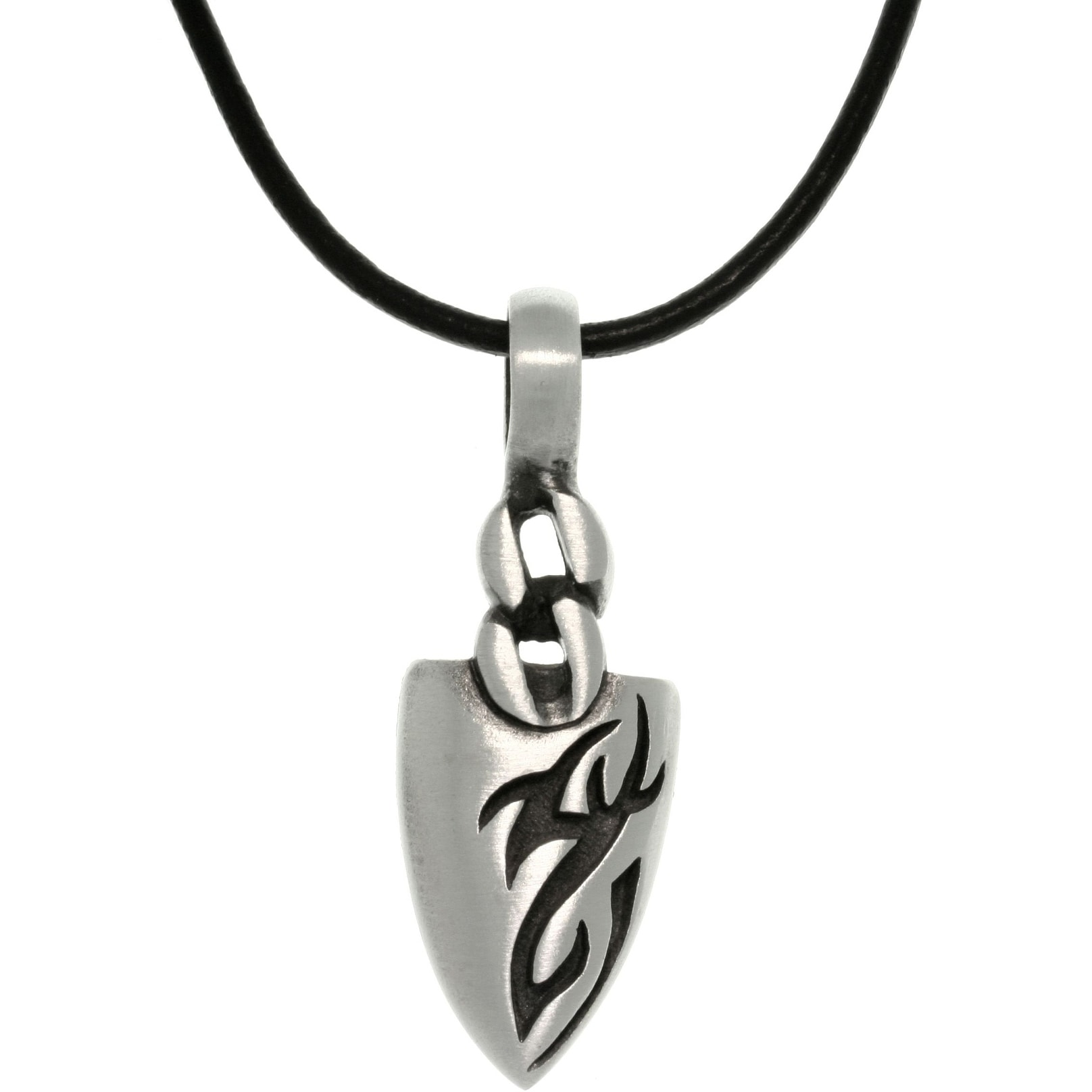 b28b0299f2115 Pewter Men's Tattoo Design Arrowhead Black Leather Cord Necklace