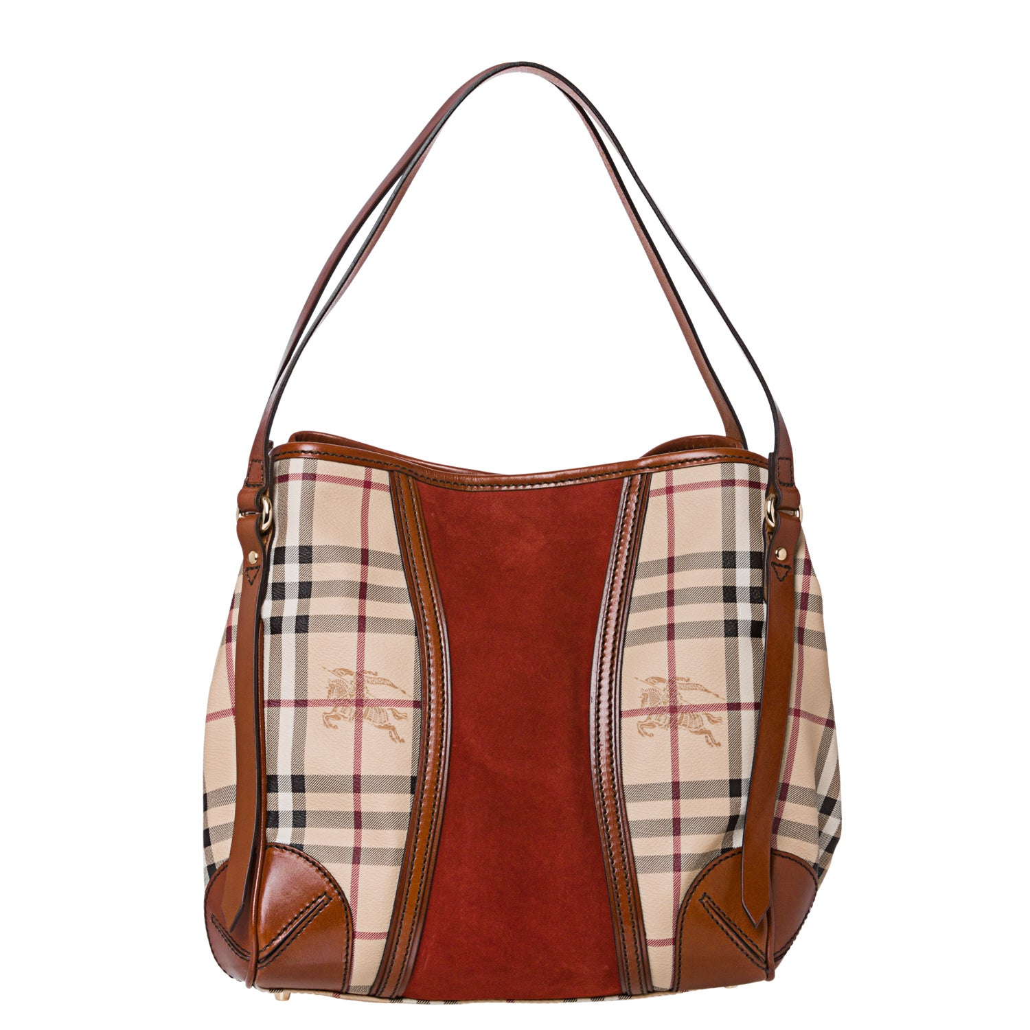 492a3a7b157b Shop Burberry Small Haymarket Check  Rust Suede Tote Bag - Free Shipping  Today - Overstock.com - 6980363