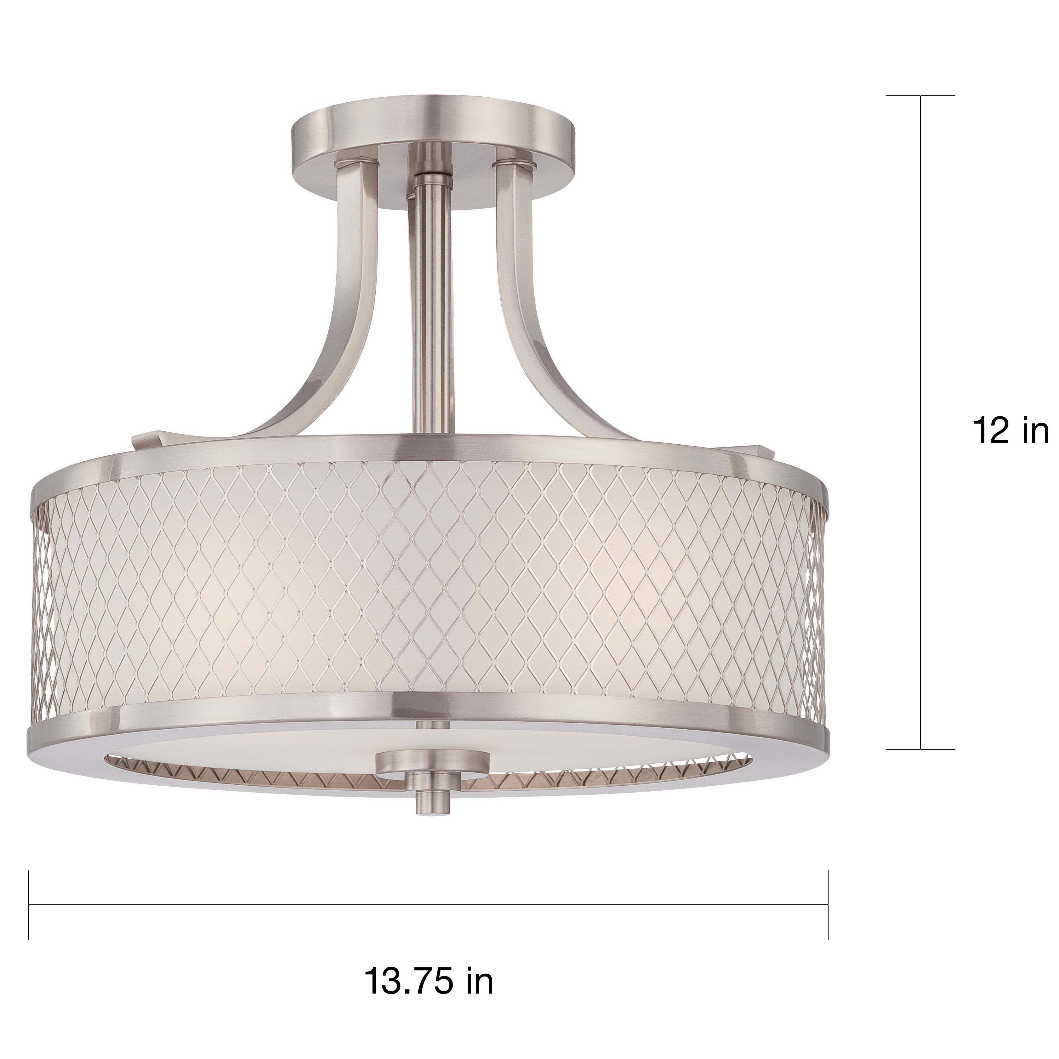 Fusion nickel and frosted glass 3 light semi flush fixture