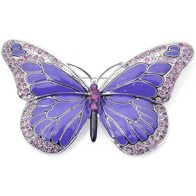 Shop Silvertone Austrian Crystal And Enamel Butterfly Pin   On Sale   Free  Shipping On Orders Over $45   Overstock.com   6991109