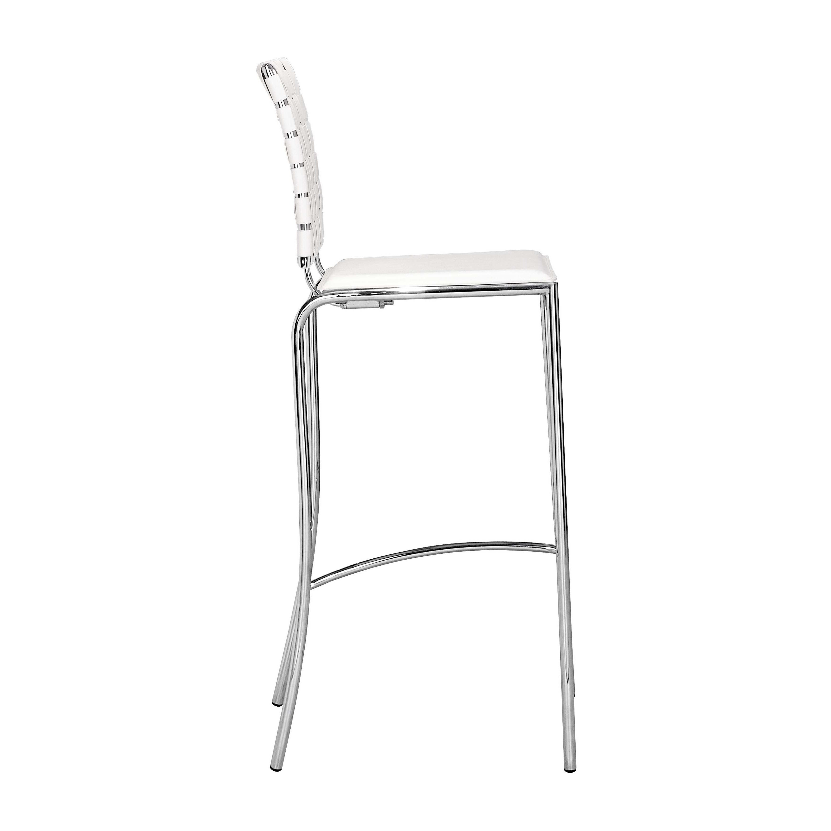 Zuo Criss Cross Modern Leather And Chrome White Bar Chairs Set Of 2 Free Shipping Today 6995887