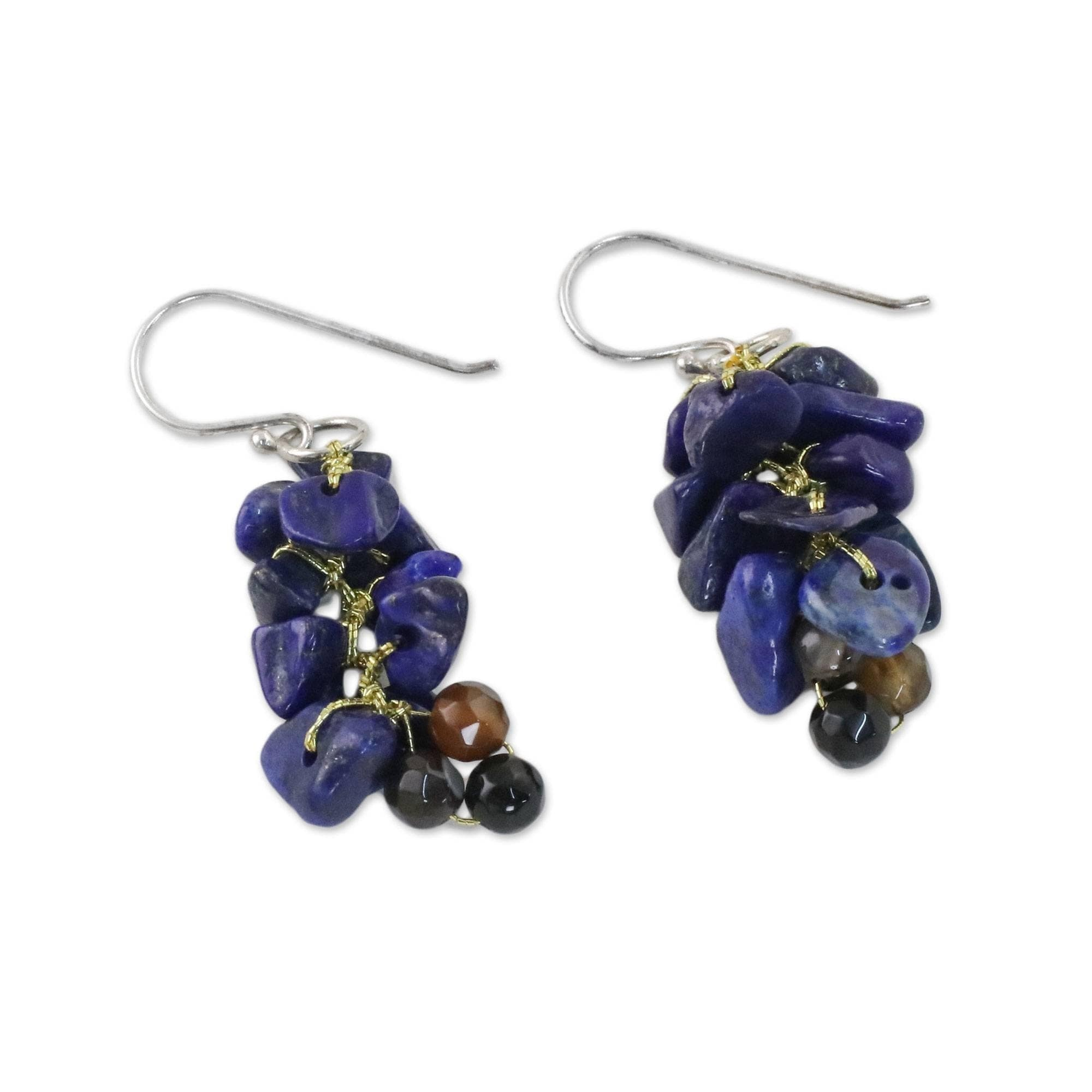 3dc77cb30f007 Silver 'Afternoon Blue' Lapis Lazuli Agate Earrings (Thailand)