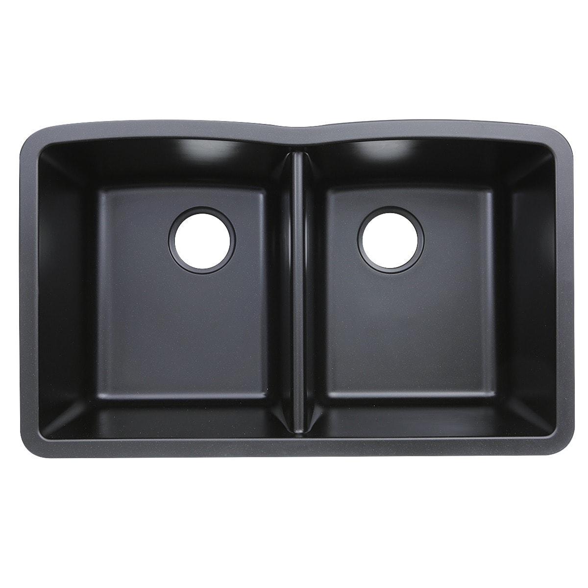 Highpoint Collection Granite Composite Black Undermount Kitchen ...