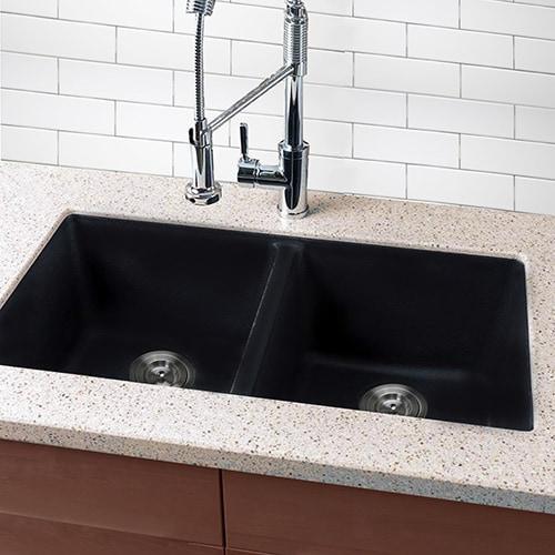 Shop Highpoint Collection Granite Composite Black Undermount Kitchen ...