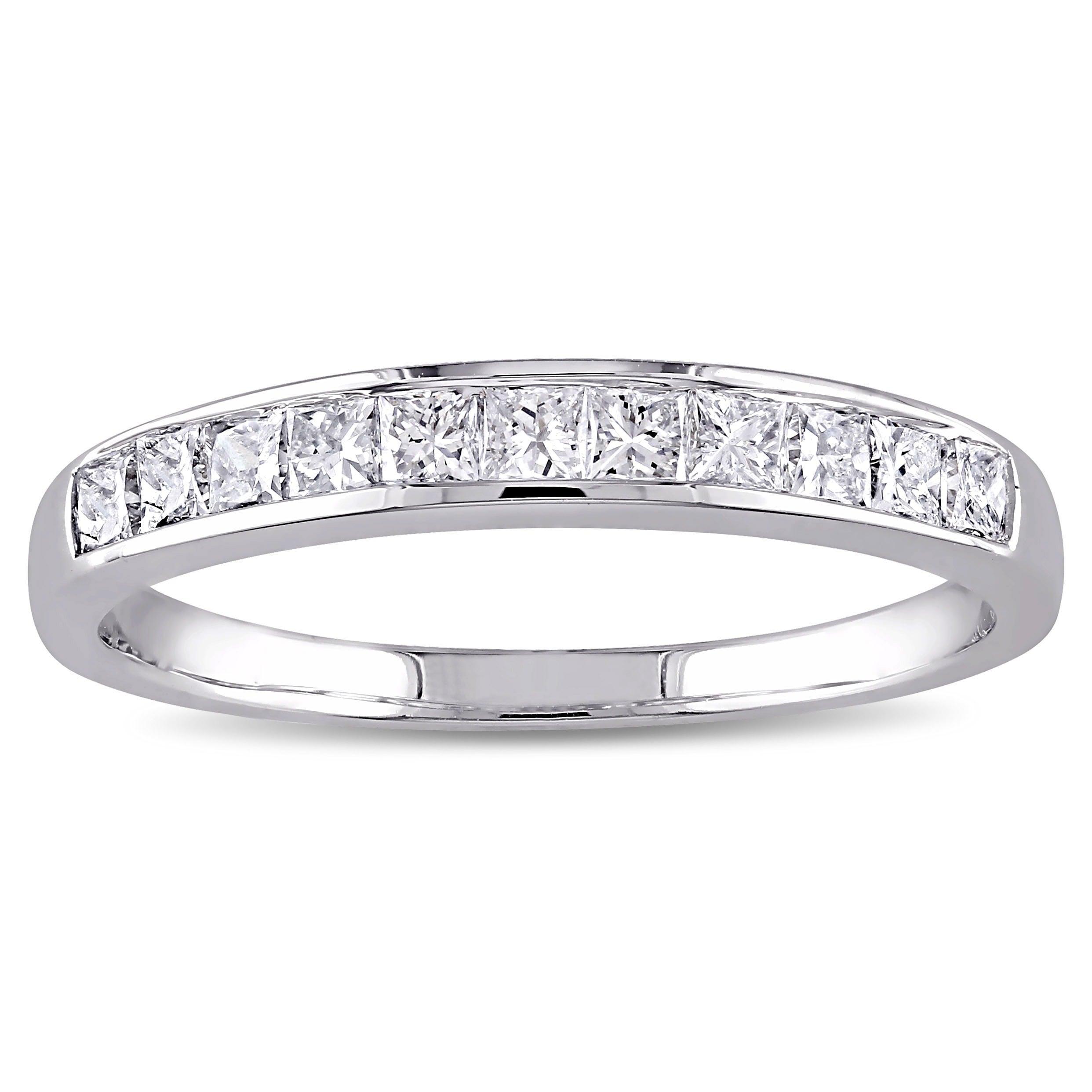 Miadora 14k White Gold 1 2ct Tdw Igl Certified Princess Channel Set Diamond Wedding Band G H I1 I2 On Free Shipping Today
