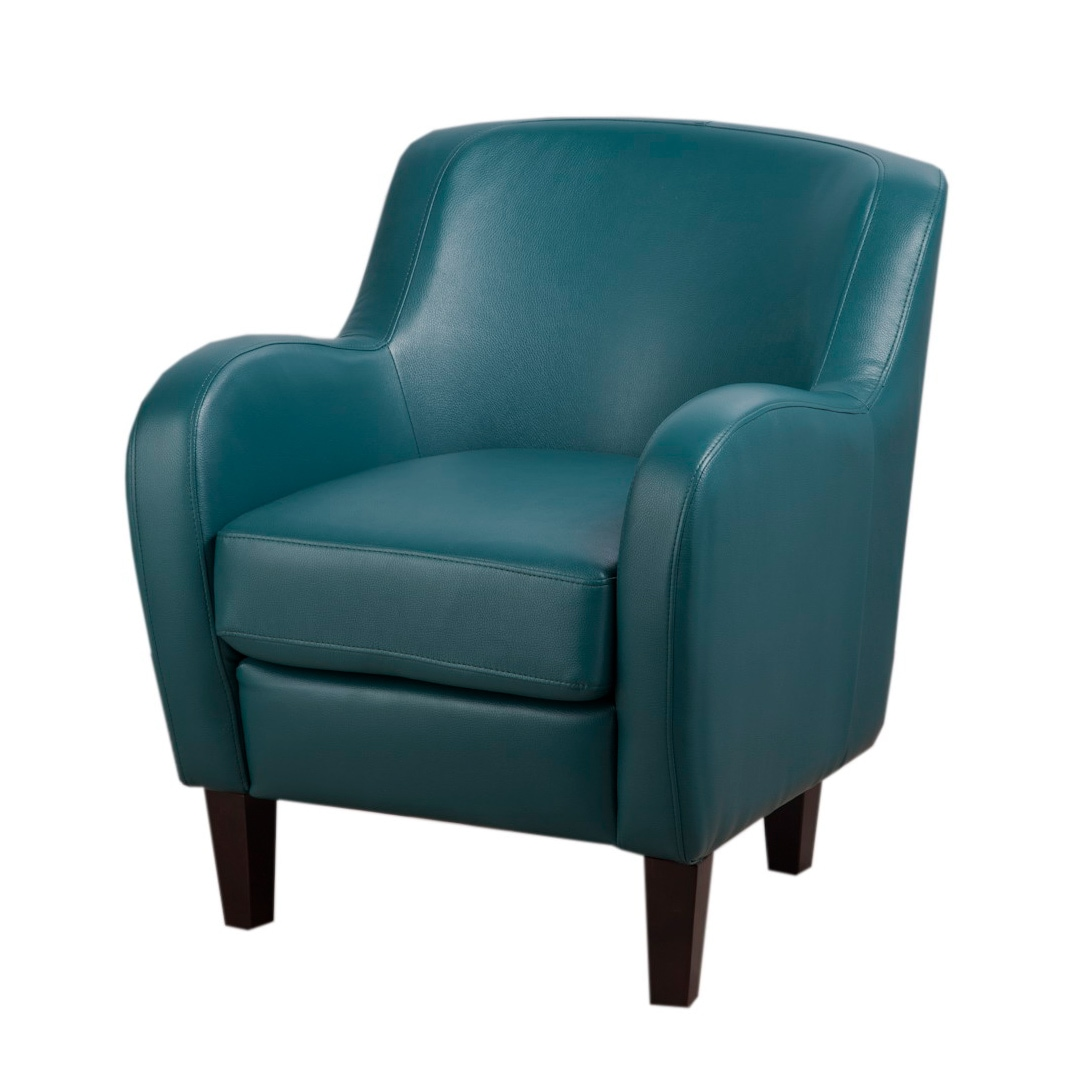 Shop Clay Alder Home Bedford Turquoise Bonded Leather Tub Chair ...