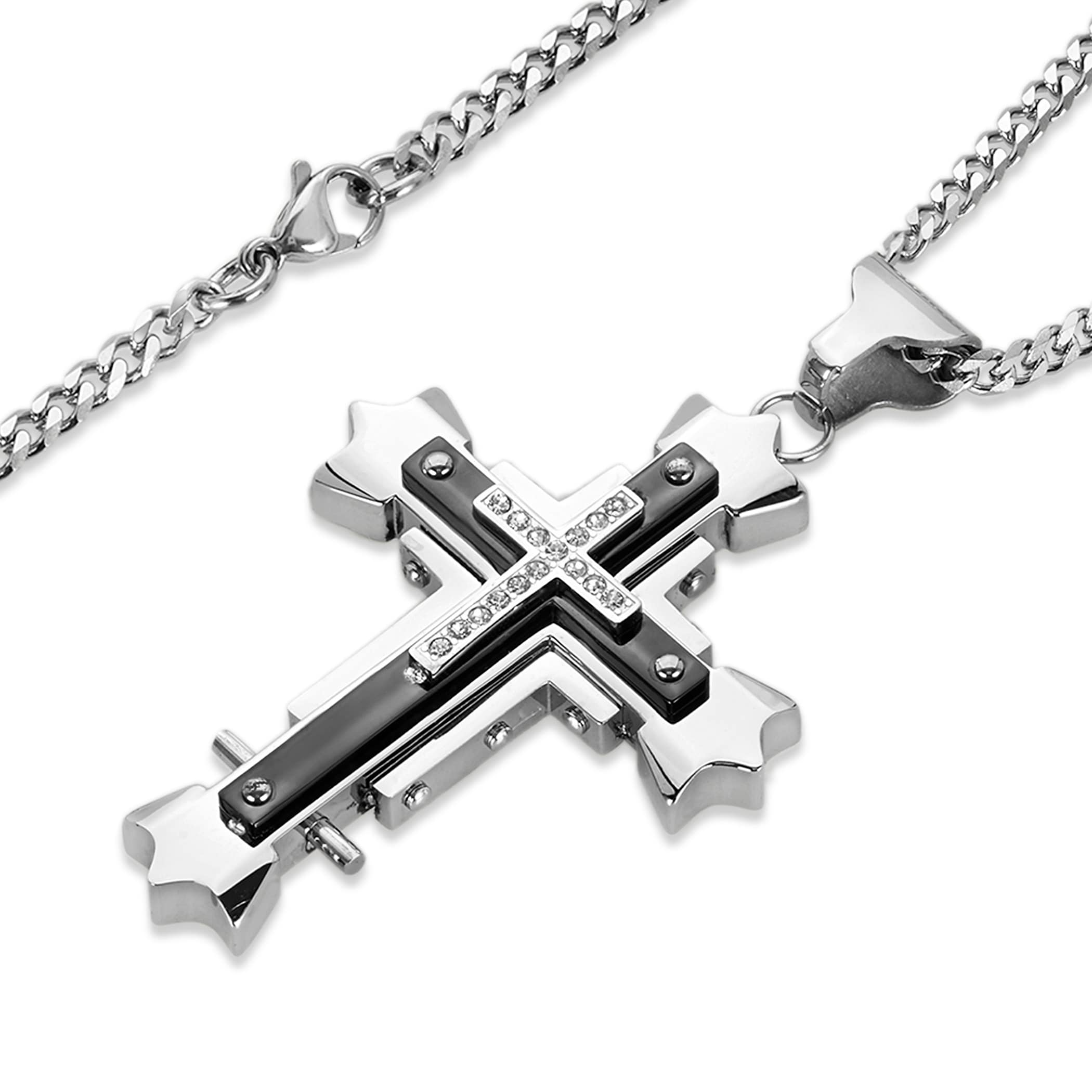 Shop mens cubic zirconia high polish stainless steel cross necklace shop mens cubic zirconia high polish stainless steel cross necklace blackwhite on sale free shipping on orders over 45 overstock 7110715 aloadofball Images