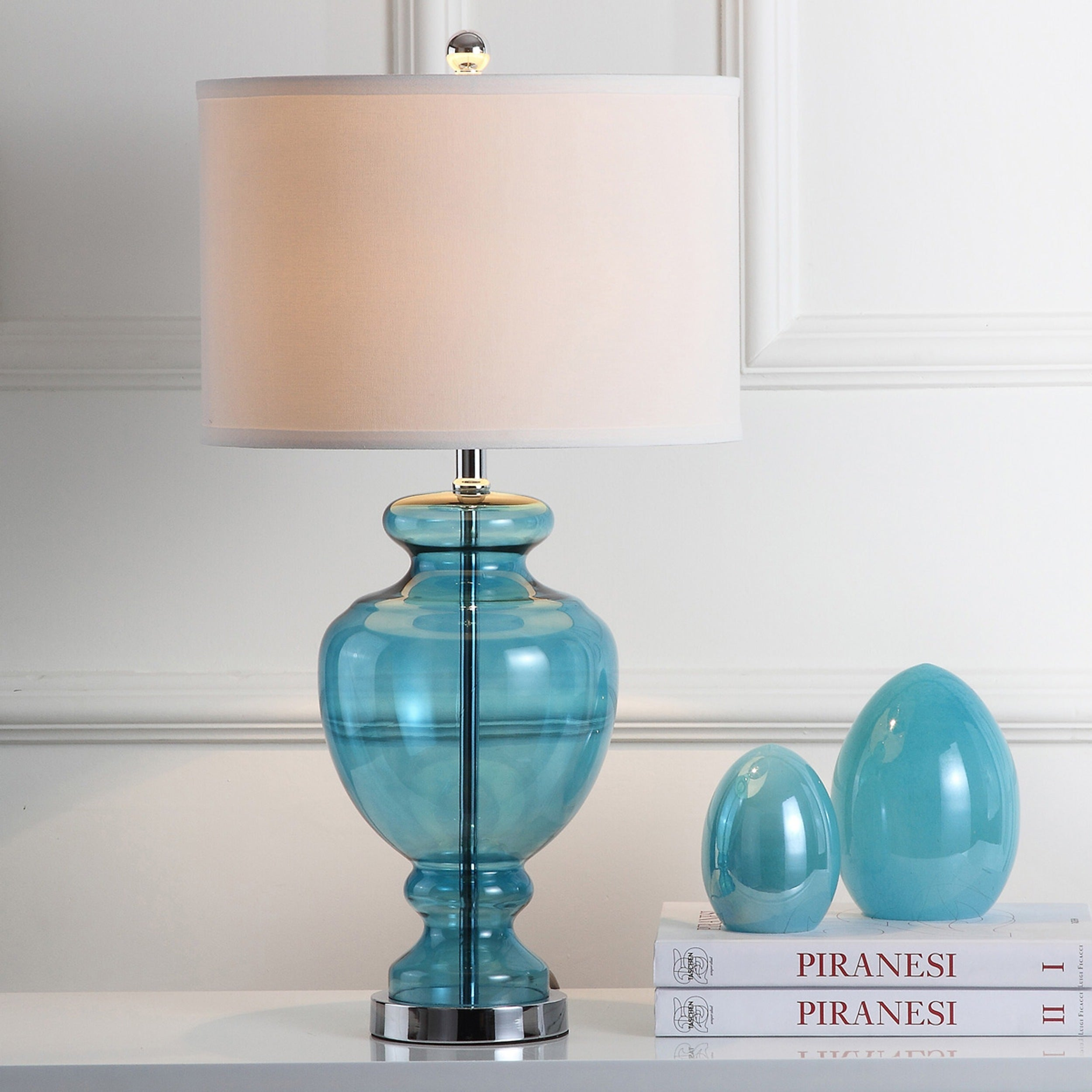 lamp glass insight base top white turquoise brilliant blue table