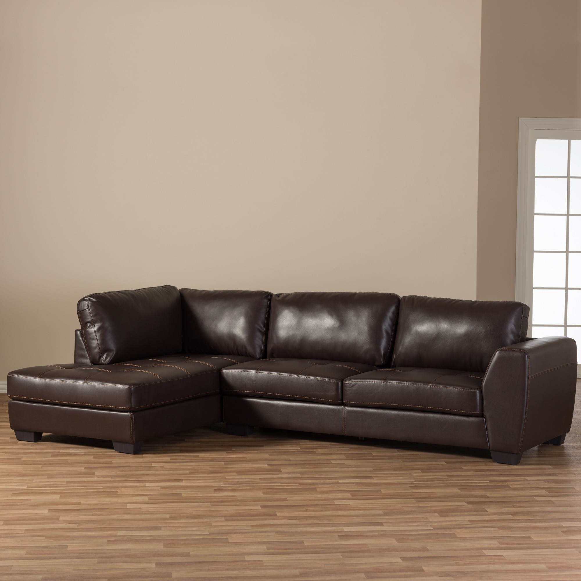 Maison Rouge Aled Brown Leather Modern Sectional Sofa Set with Left ...